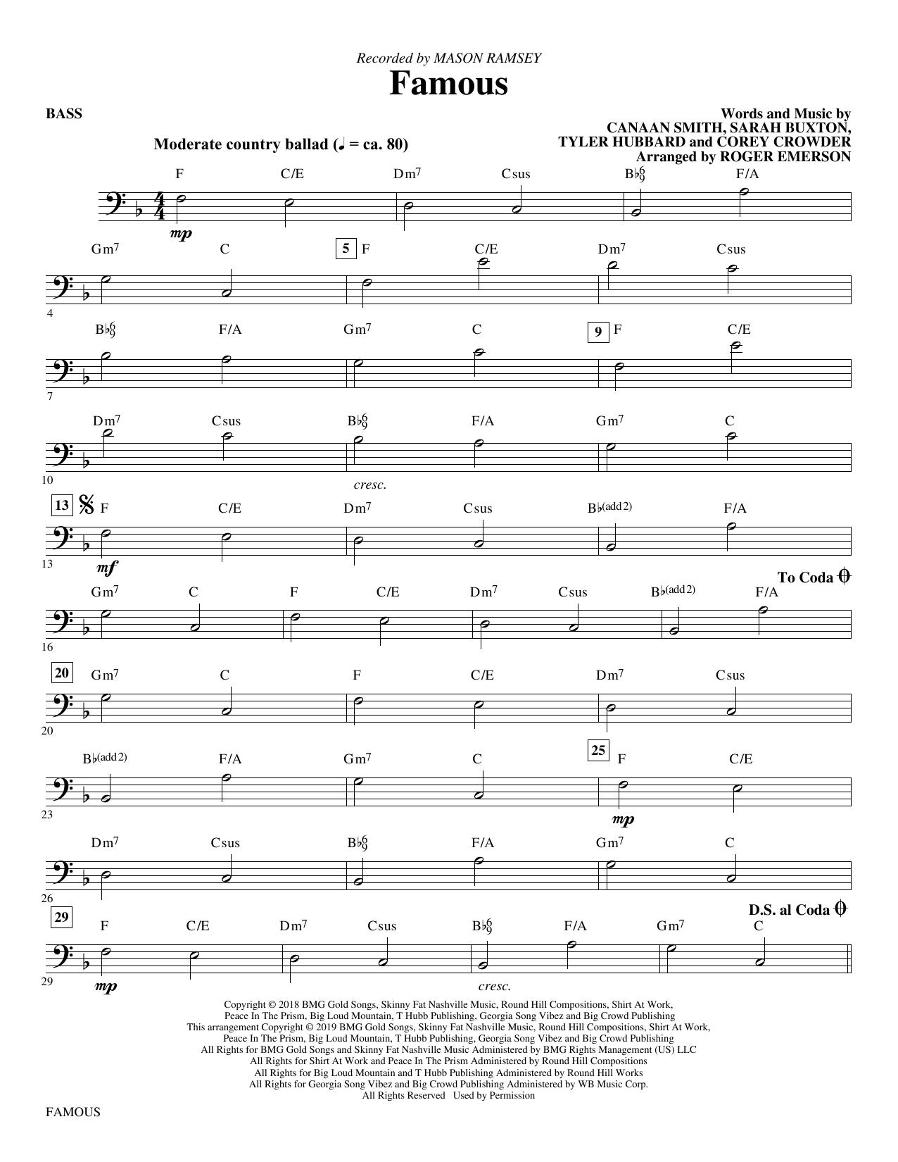 Famous (arr. Roger Emerson) - Bass Partituras Digitales