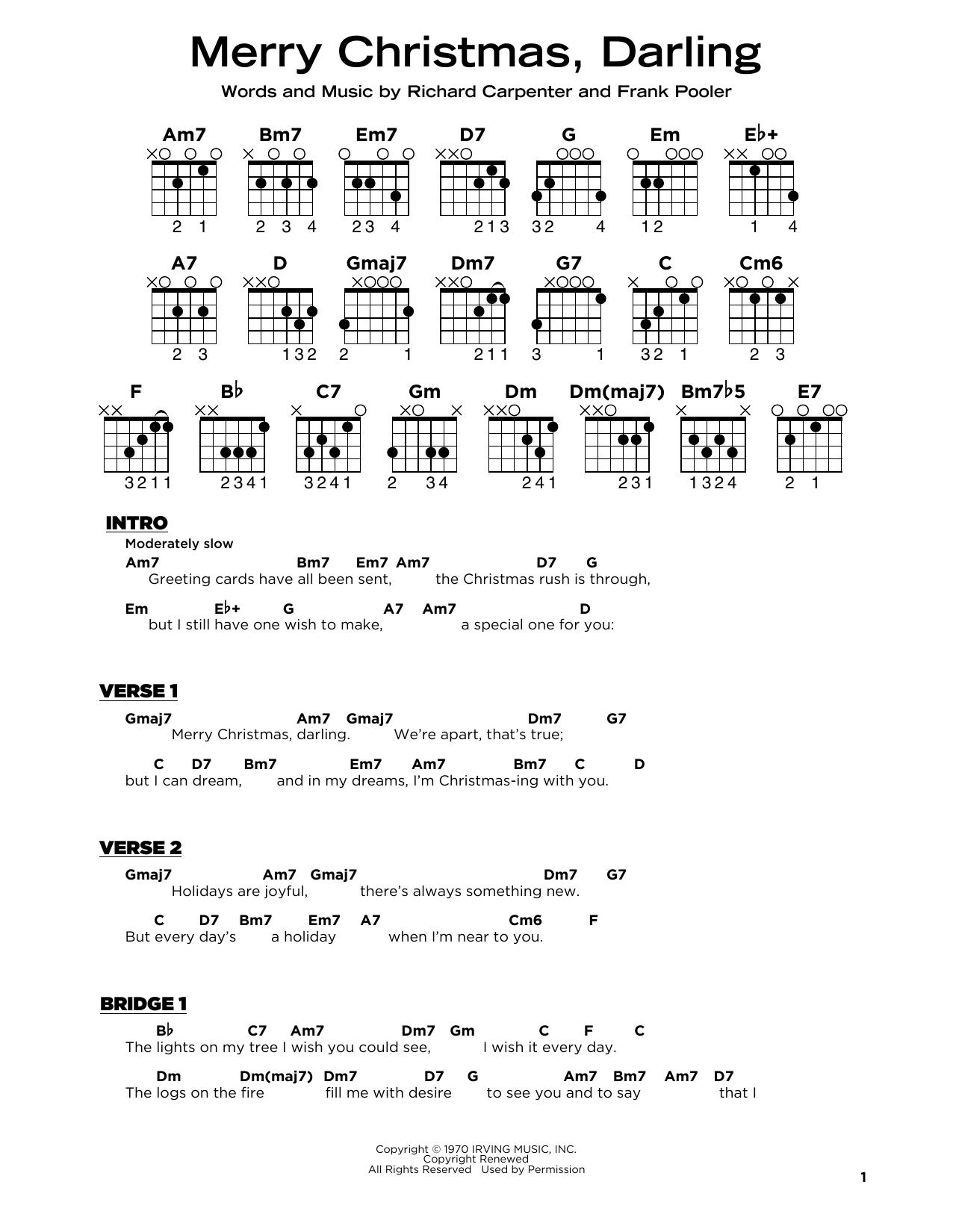 Merry Christmas, Darling (Really Easy Guitar)