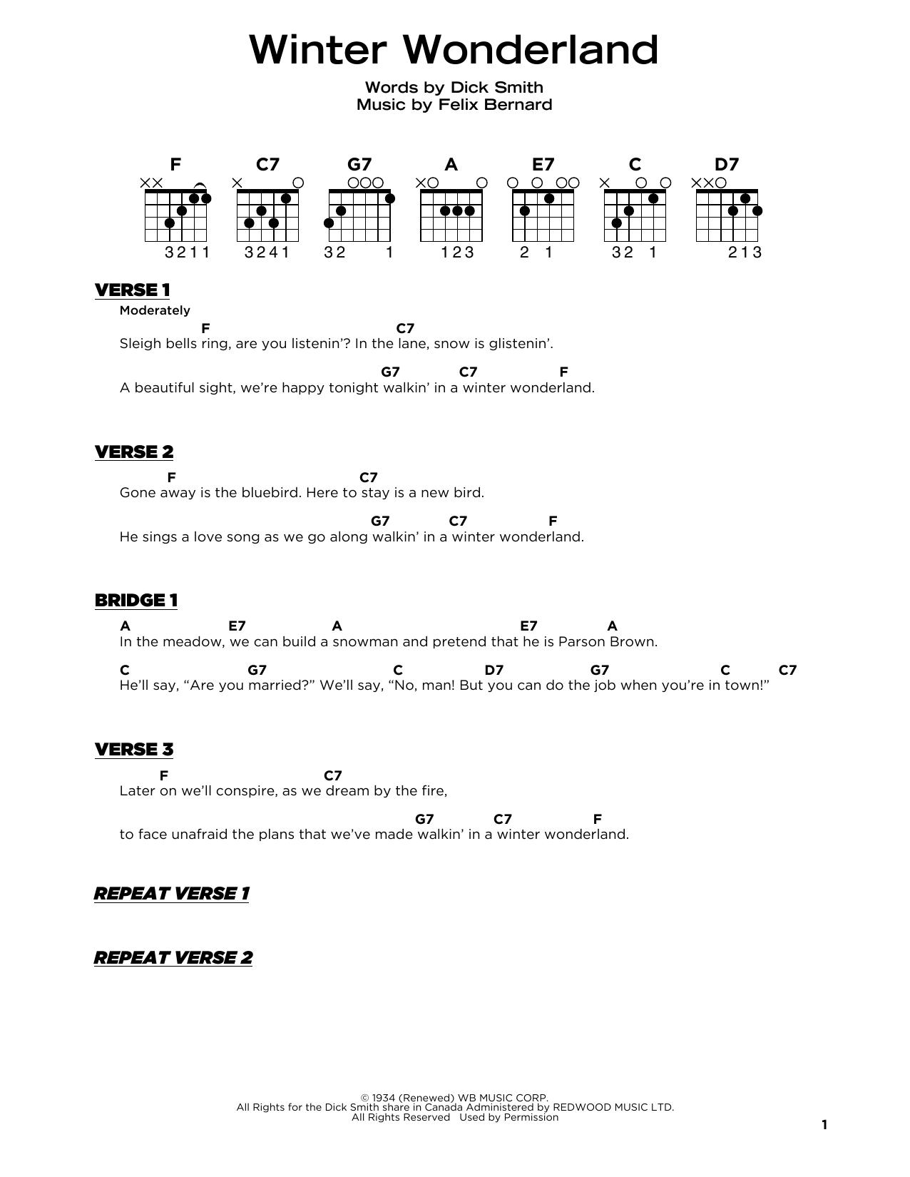 Winter Wonderland (Really Easy Guitar)