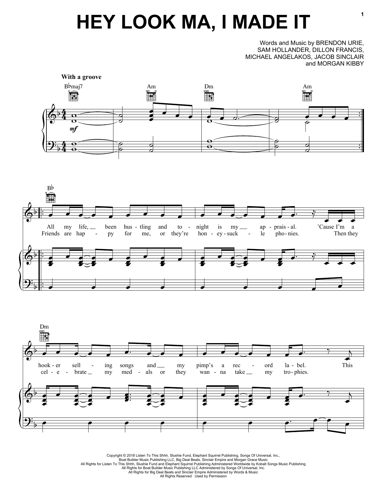 Hey Look Ma, I Made It (Piano, Vocal & Guitar (Right-Hand Melody))