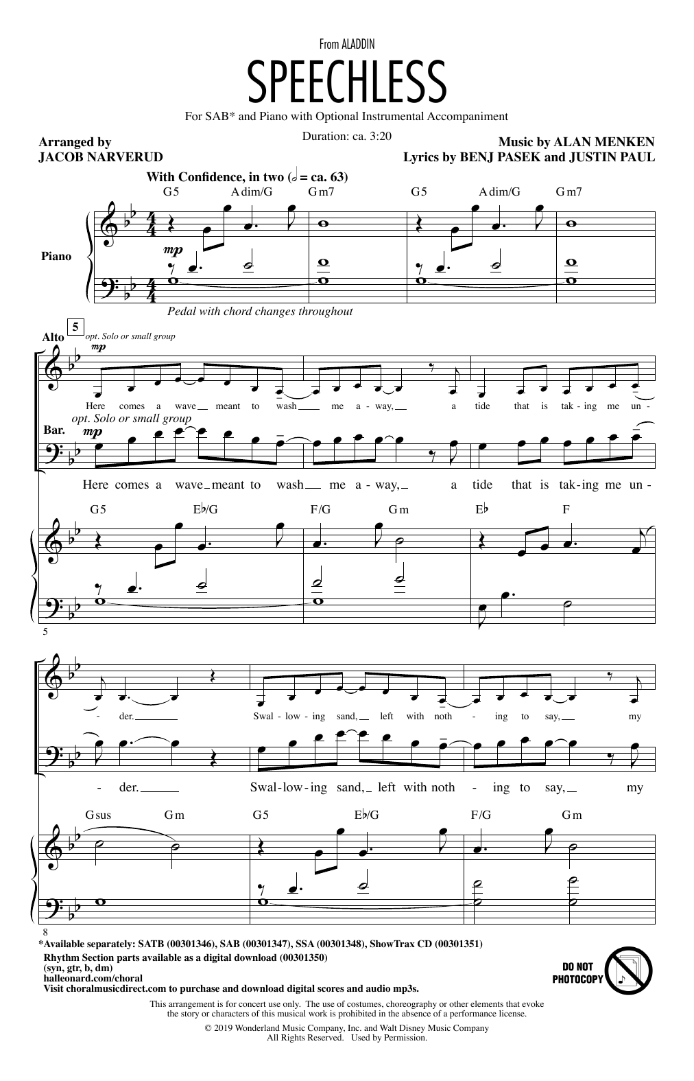 Speechless (from Disney's Aladdin) (arr. Jacob Narverud) (SAB Choir)