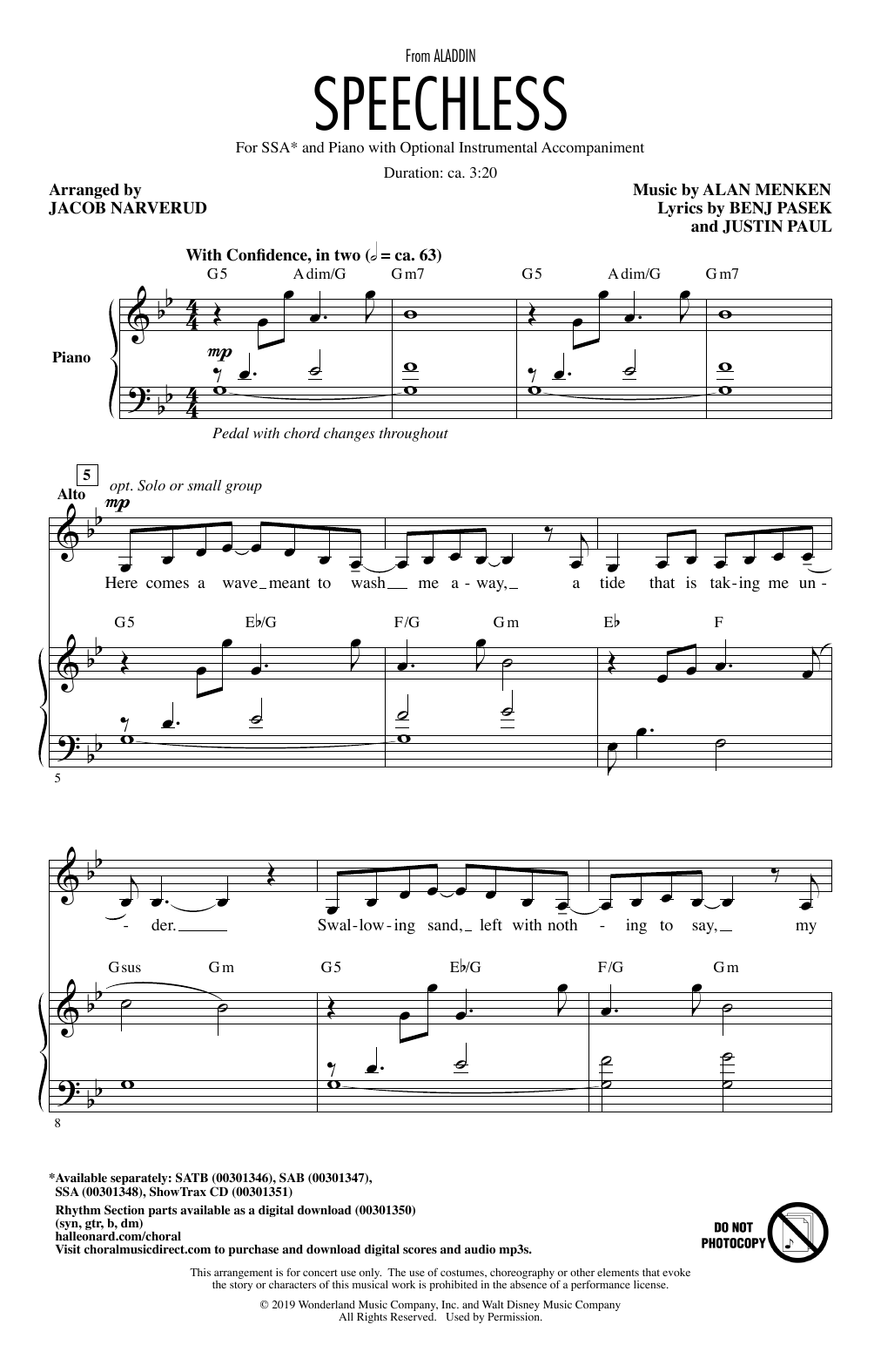 Speechless (from Disney's Aladdin) (arr. Jacob Narverud) Sheet Music