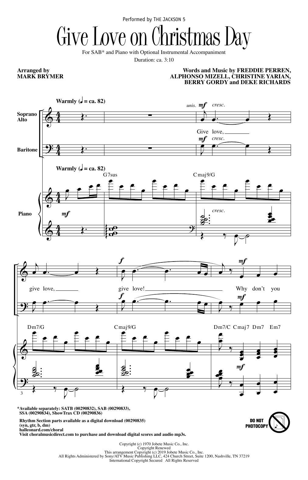 Give Love On Christmas Day (arr. Mark Brymer) (SAB Choir)