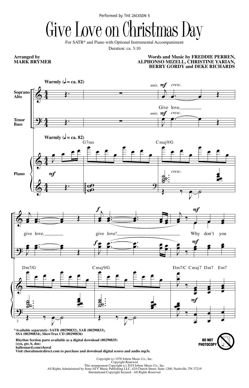 Give Love On Christmas Day (arr. Mark Brymer) (SATB Choir)