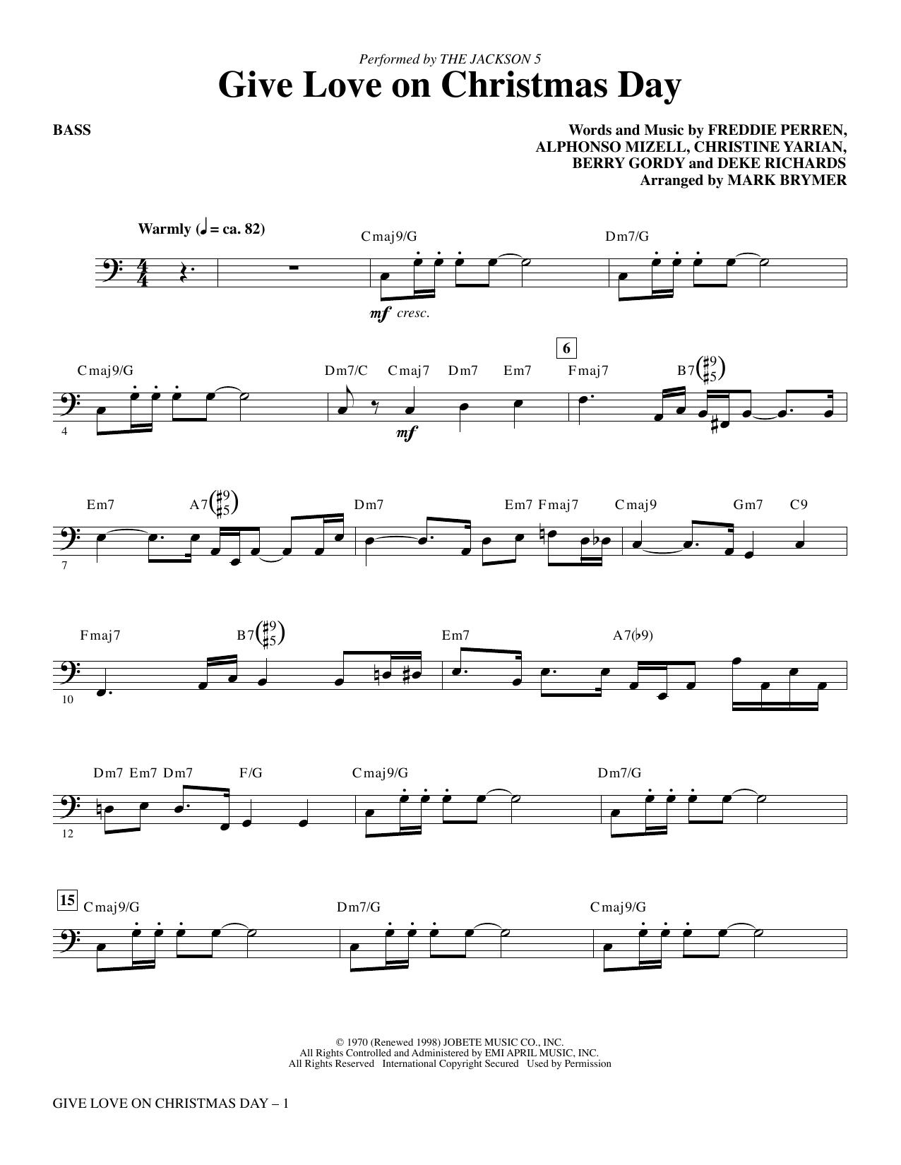 Give Love on Christmas Day (arr. Mark Brymer) - Bass (Choir Instrumental Pak)