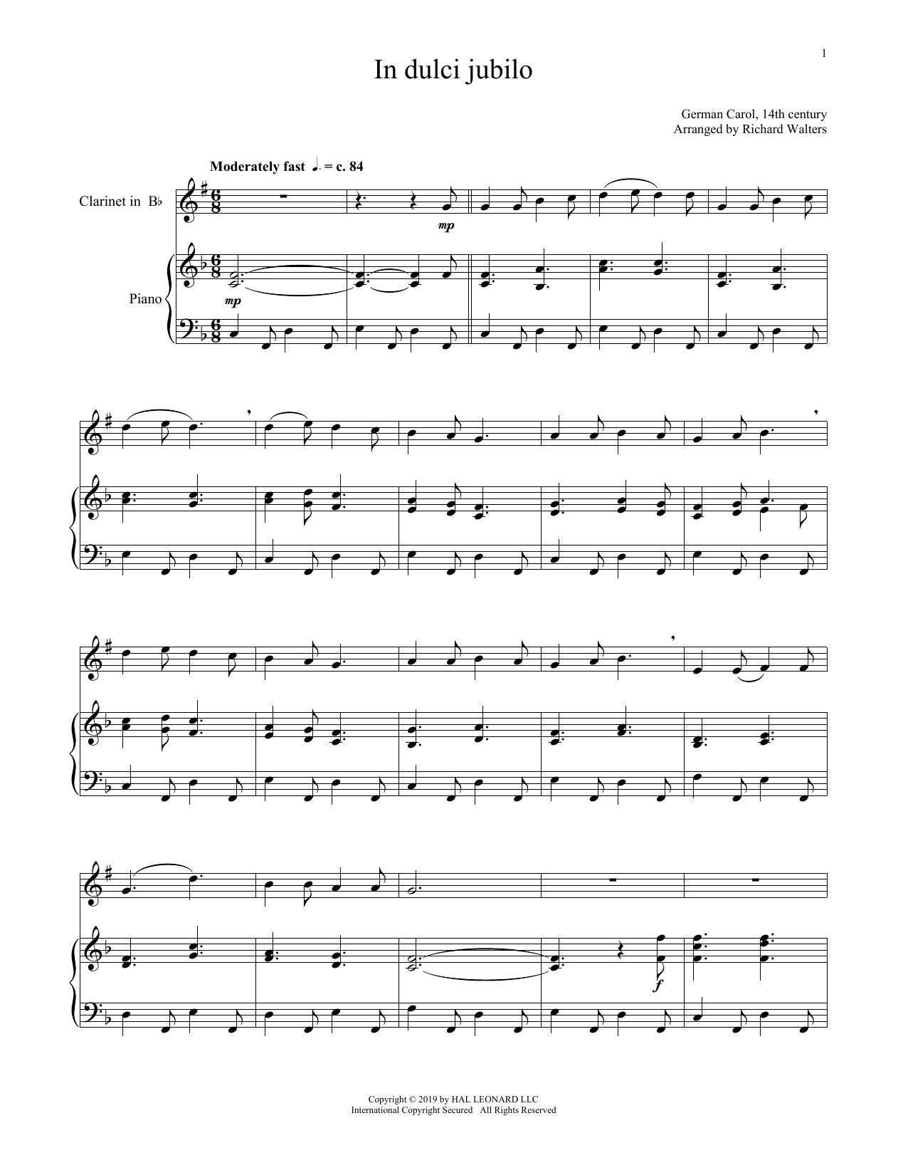 In Dulci Jubilo (Clarinet and Piano)