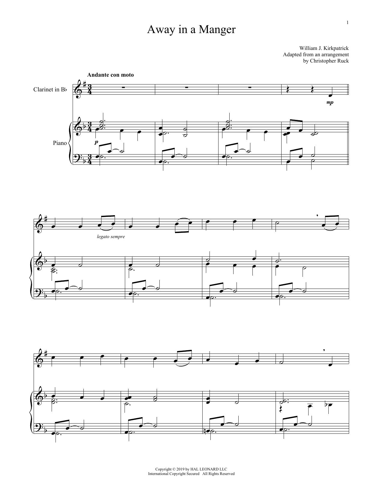Away In A Manger (Clarinet and Piano)