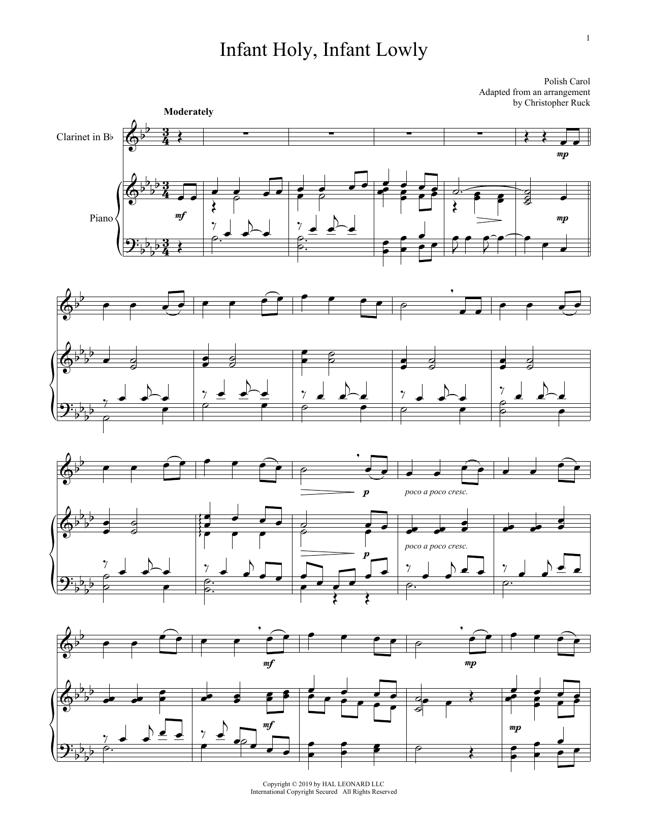 Infant Holy, Infant Lowly (Clarinet and Piano)