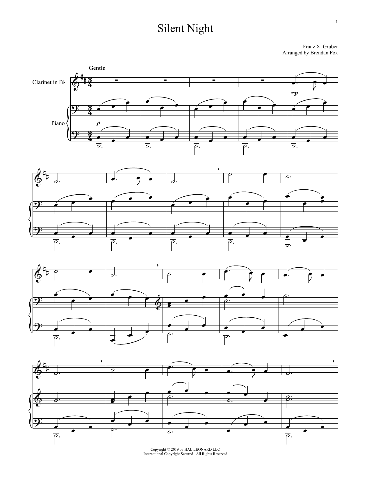 Silent Night (Clarinet and Piano)