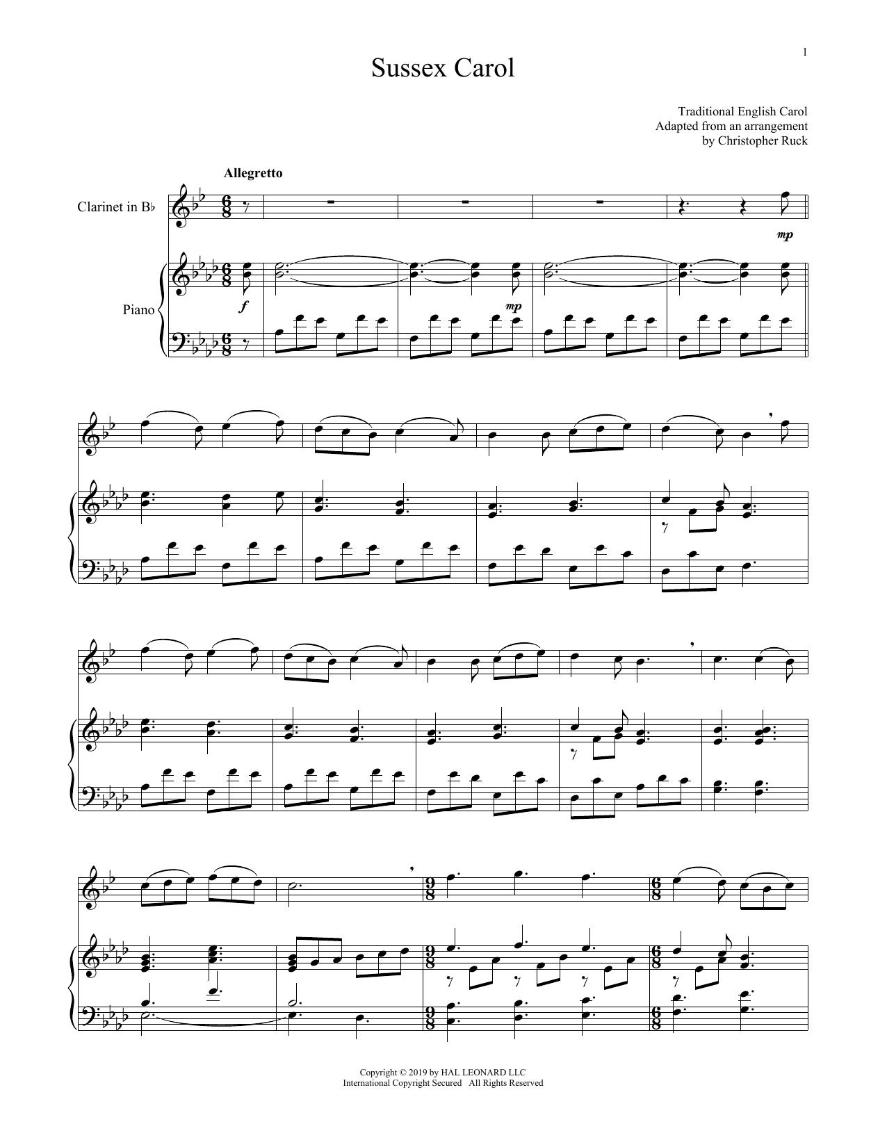Sussex Carol (Clarinet and Piano)