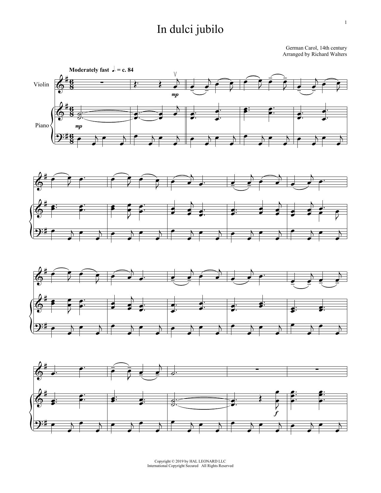 In Dulci Jubilo (Violin and Piano)