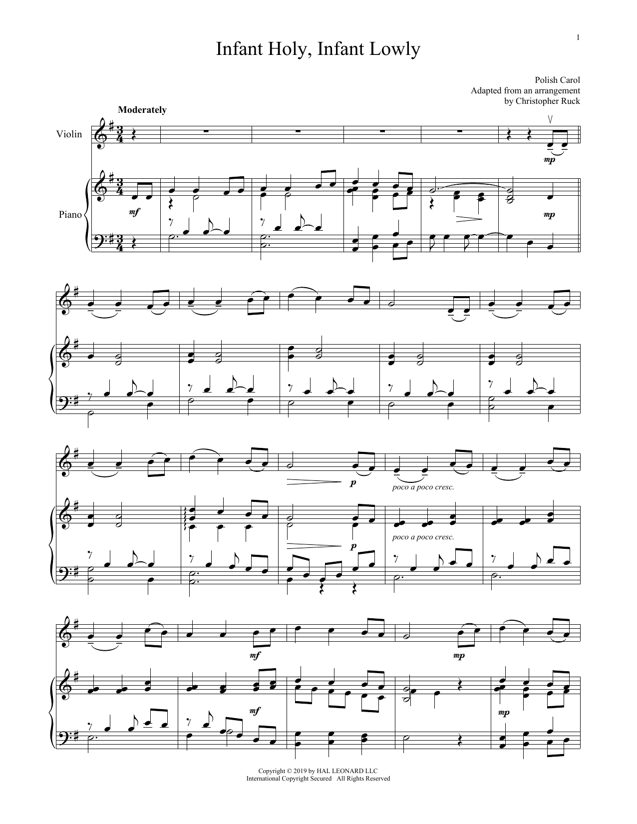 Infant Holy, Infant Lowly (Violin and Piano)