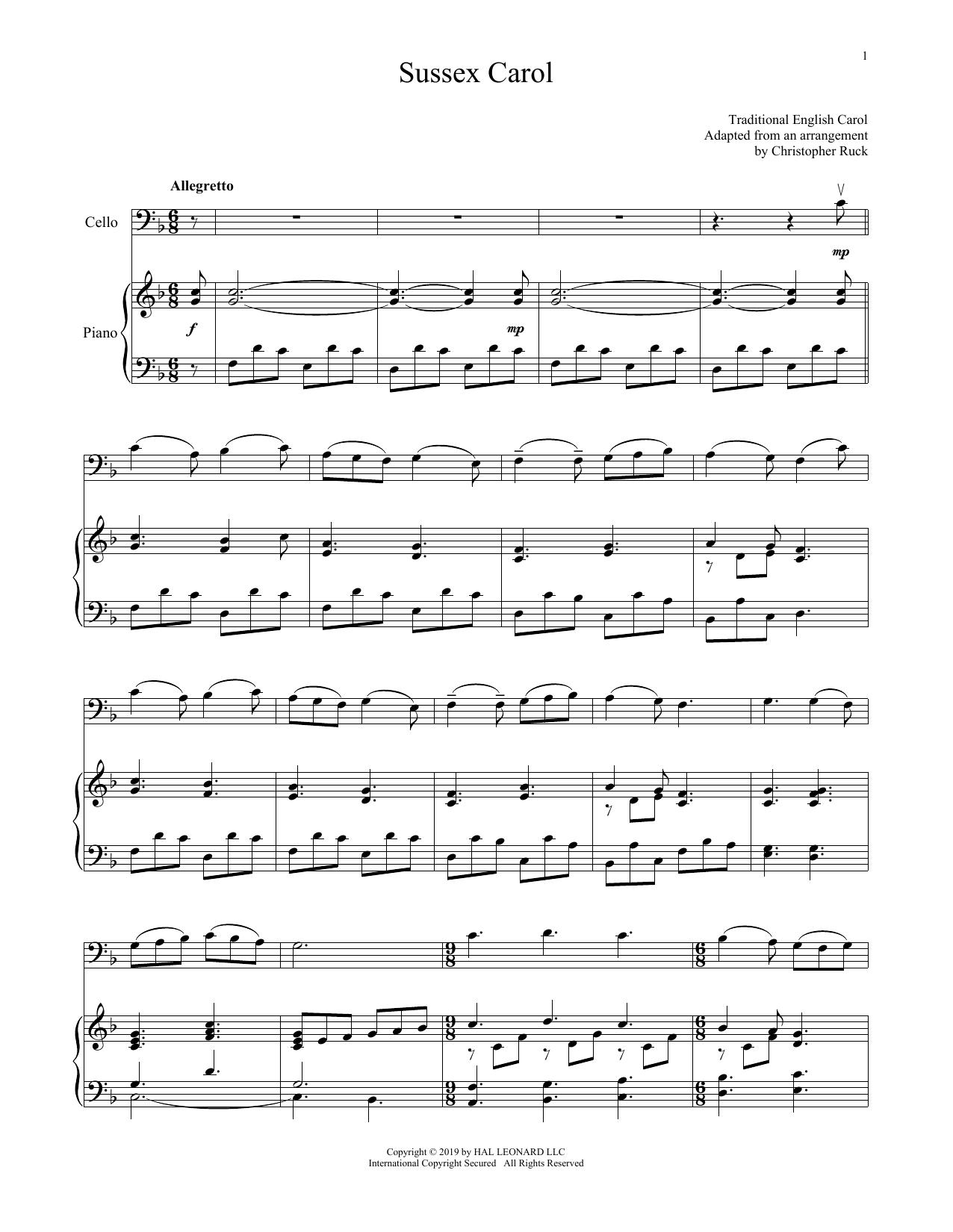 Sussex Carol (Cello and Piano)