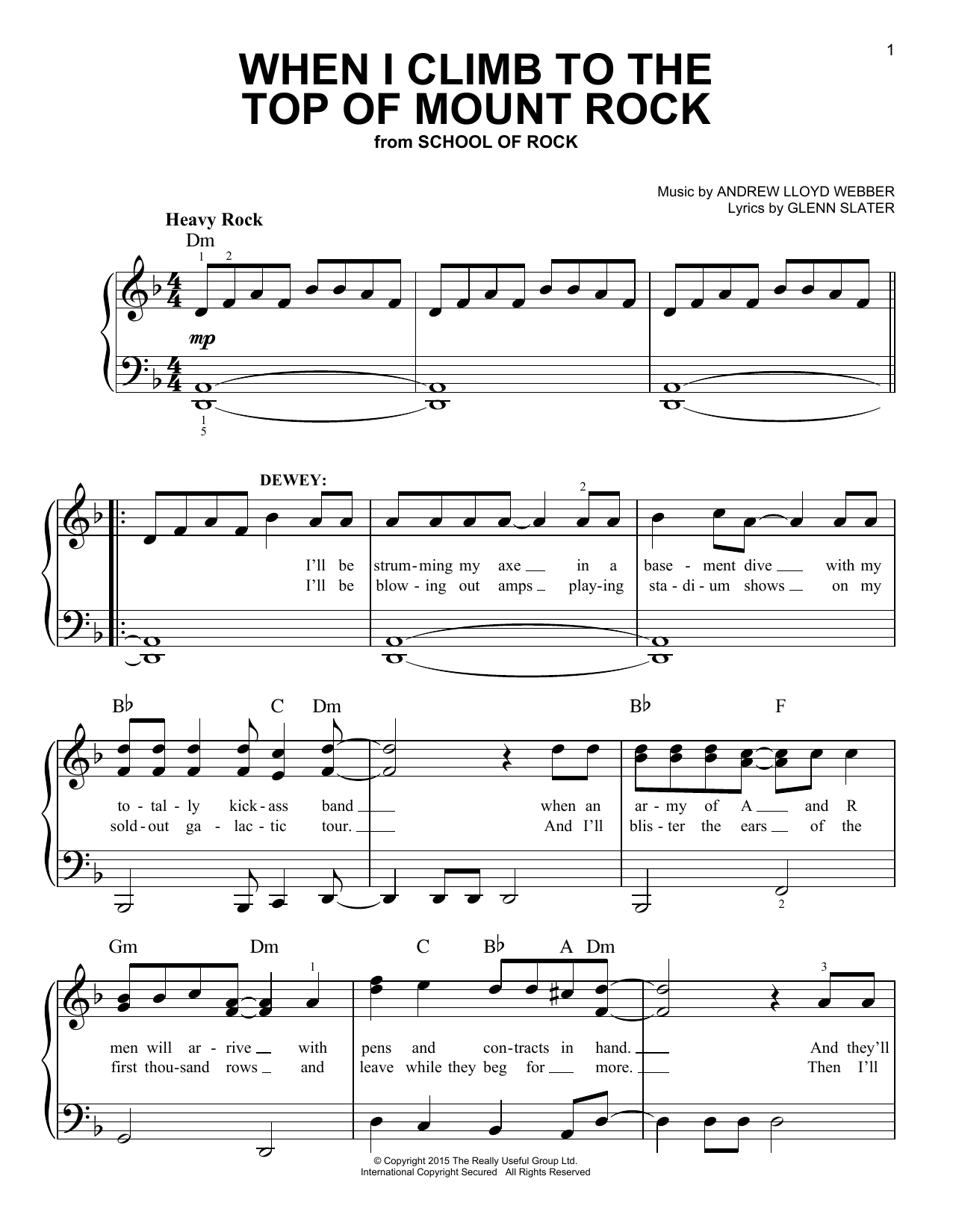 When I Climb To The Top Of Mount Rock (from School of Rock: The Musical) (Easy Piano)