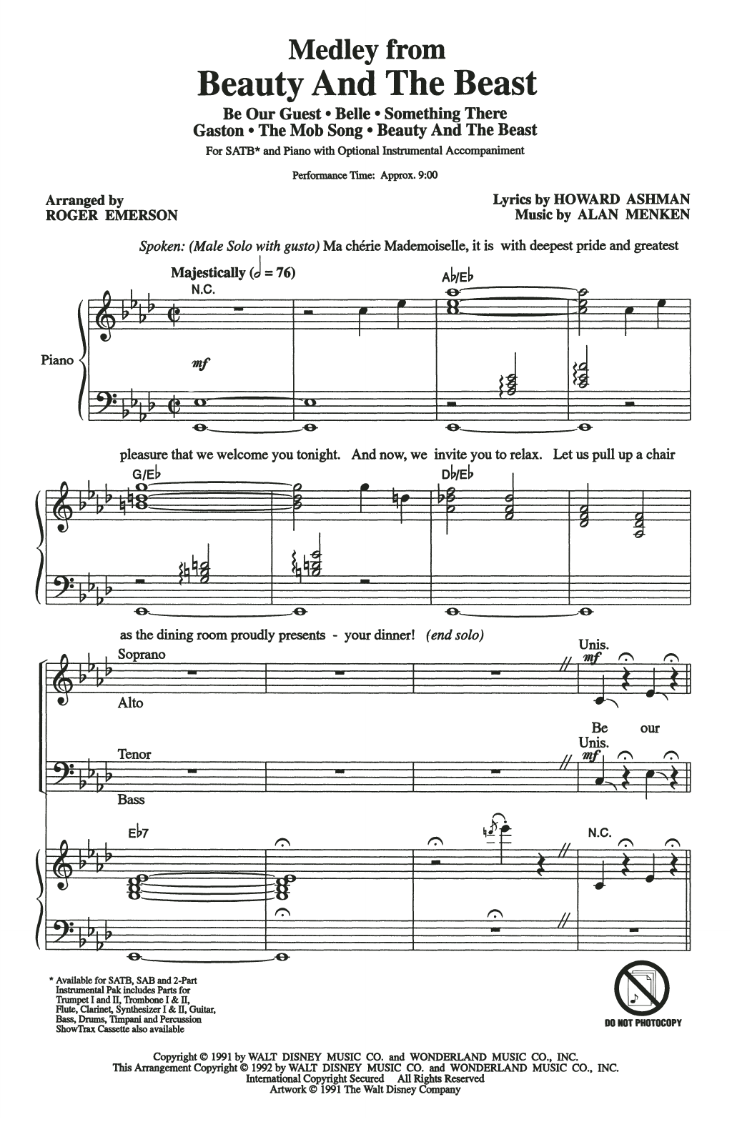 Beauty And The Beast (Medley) (arr. Roger Emerson) (SATB Choir)