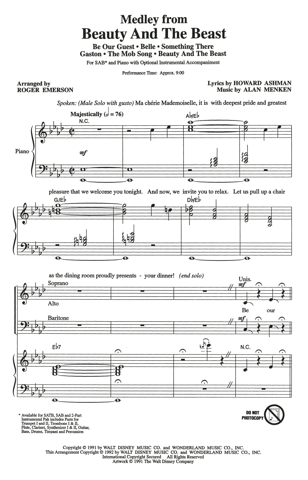 Beauty And The Beast (Medley) (arr. Roger Emerson) (SAB Choir)