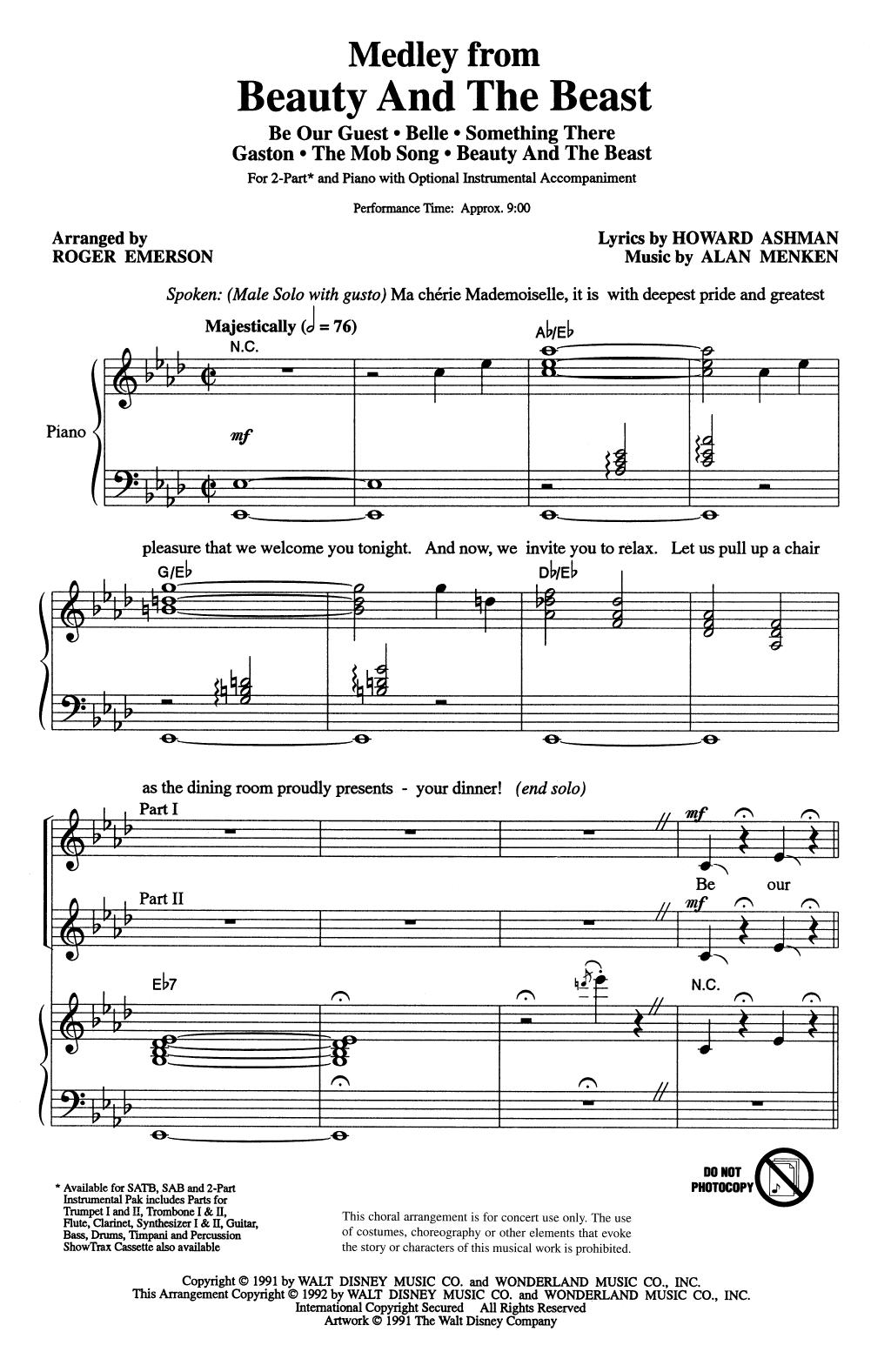 Beauty And The Beast (Medley) (arr. Roger Emerson) (2-Part Choir)