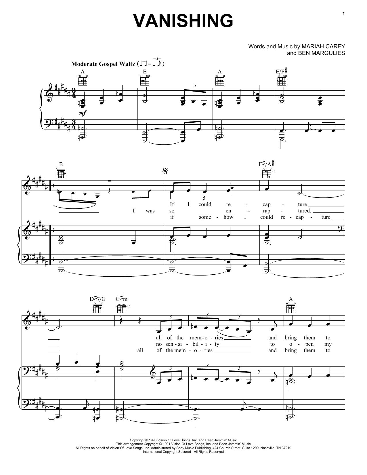 Vanishing (Piano, Vocal & Guitar (Right-Hand Melody))