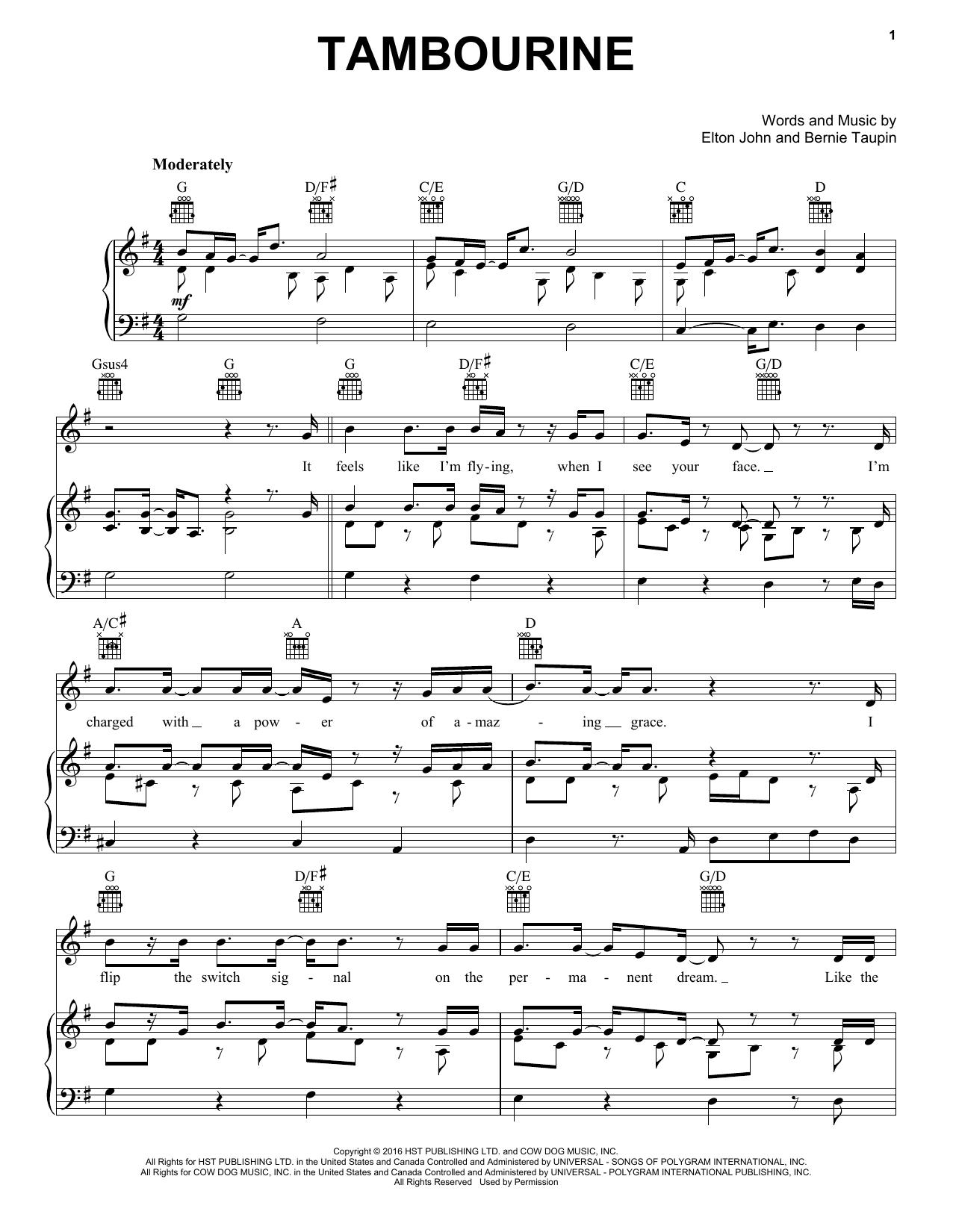 Tambourine (Piano, Vocal & Guitar (Right-Hand Melody))