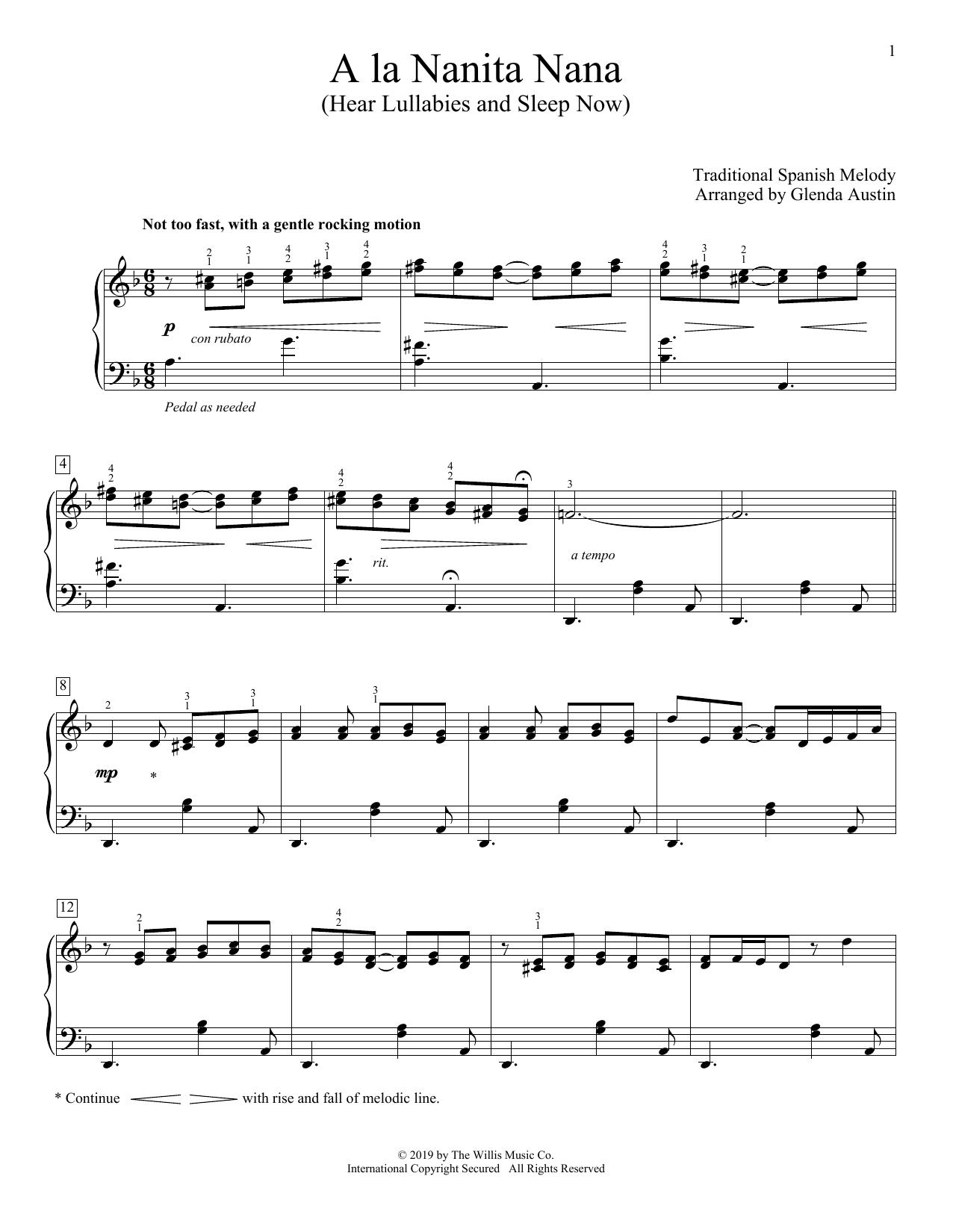 A La Nanita Nana (Hear Lullabies And Sleep Now) (arr. Glenda Austin) (Piano Solo)