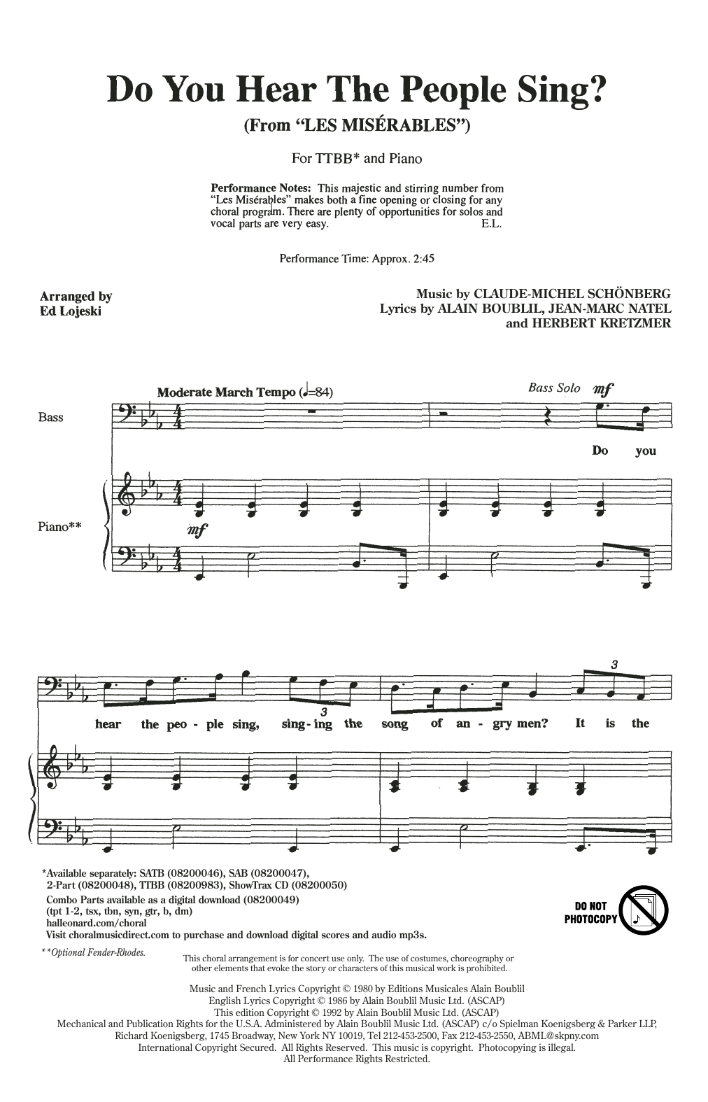 Do You Hear The People Sing? (from Les Miserables) (arr. Ed Lojeski) Sheet Music