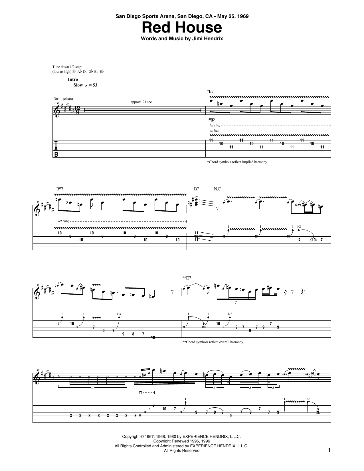 Red House (Guitar Tab)