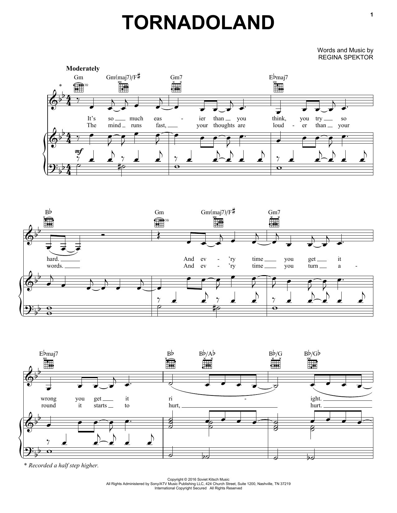 Tornadoland (Piano, Vocal & Guitar (Right-Hand Melody))