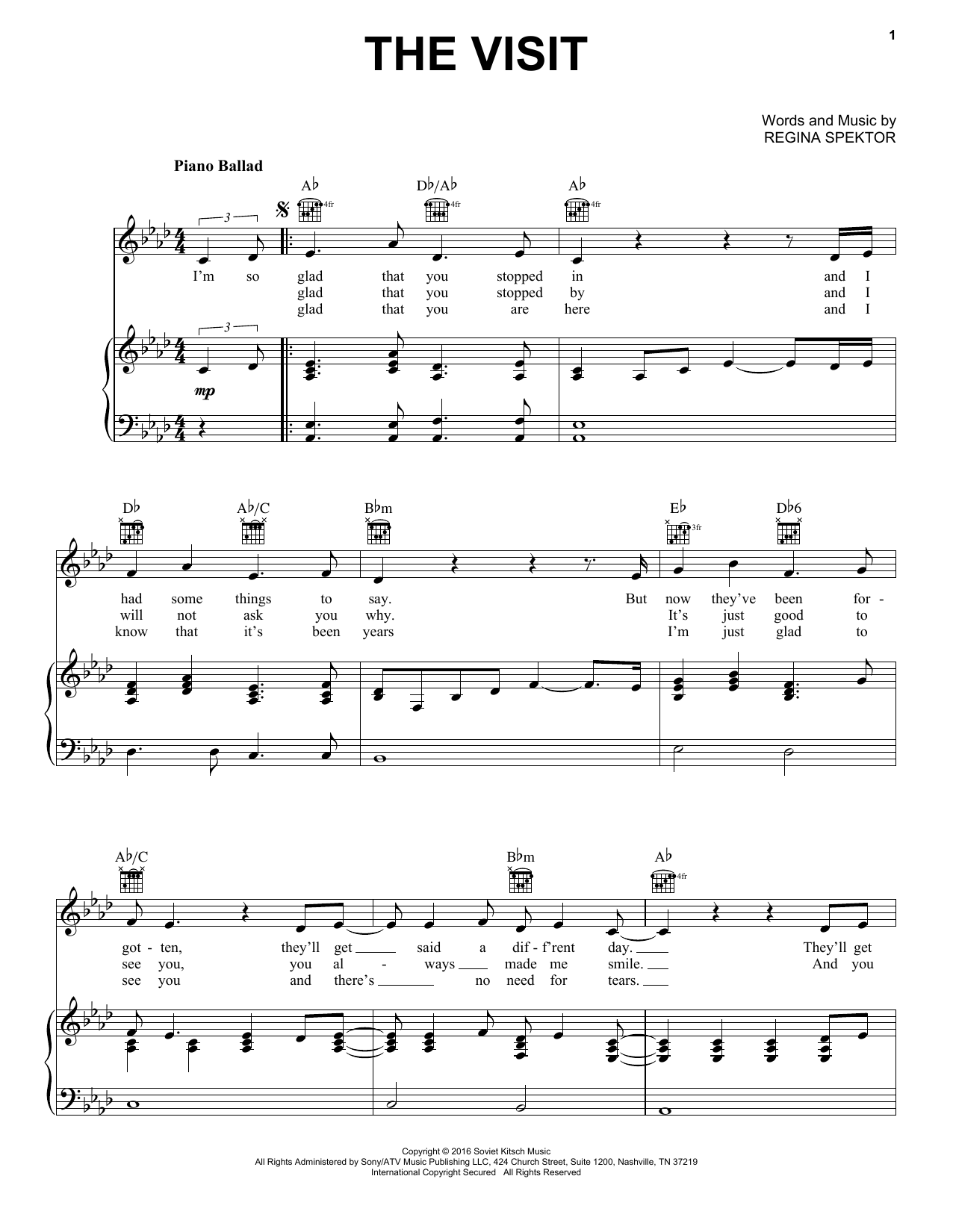 The Visit (Piano, Vocal & Guitar (Right-Hand Melody))