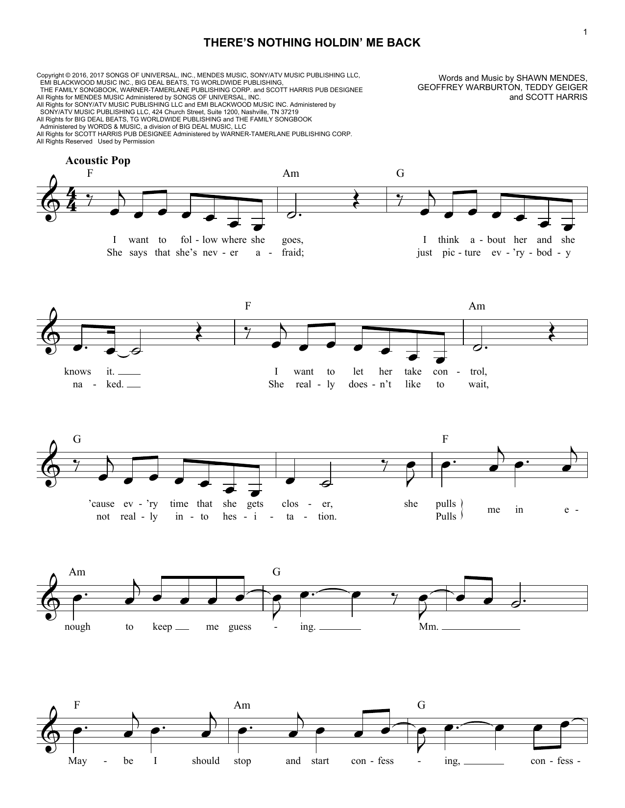 There's Nothing Holdin' Me Back Sheet Music