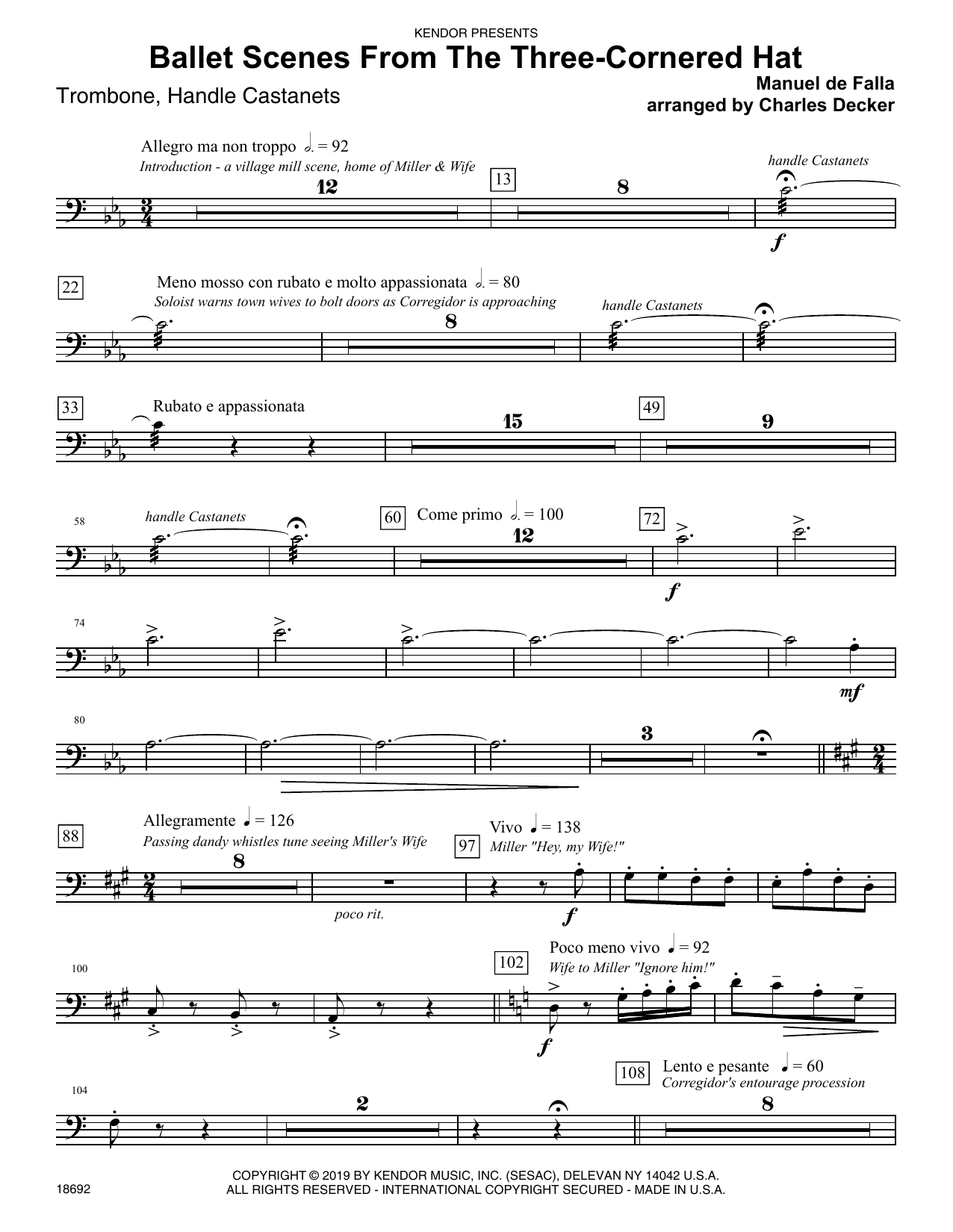 Ballet Scenes From The Three-cornered Hat - Trombone Sheet Music