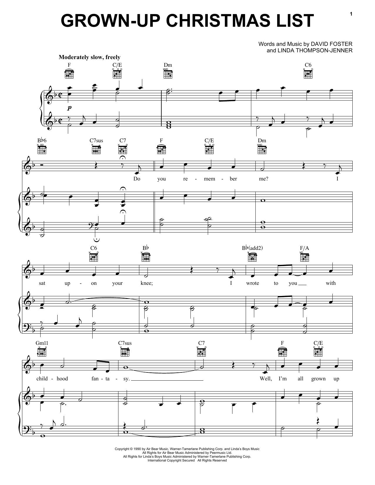 Grown-Up Christmas List (Vocal Pro + Piano/Guitar) - Print Sheet Music