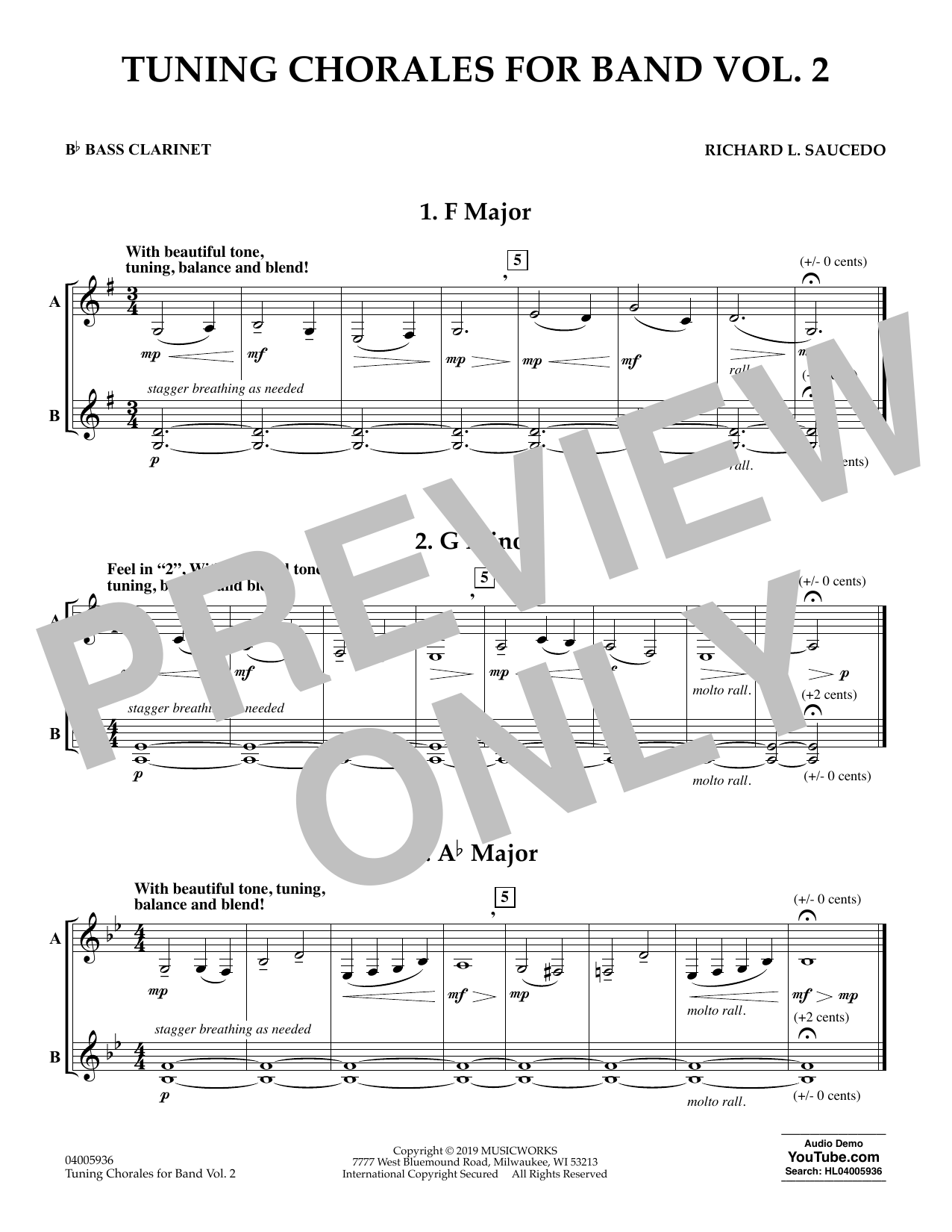 tuning chorales for band, volume 2 - bb bass clarinet sheet music | richard  l. saucedo | concert band  sheet music direct