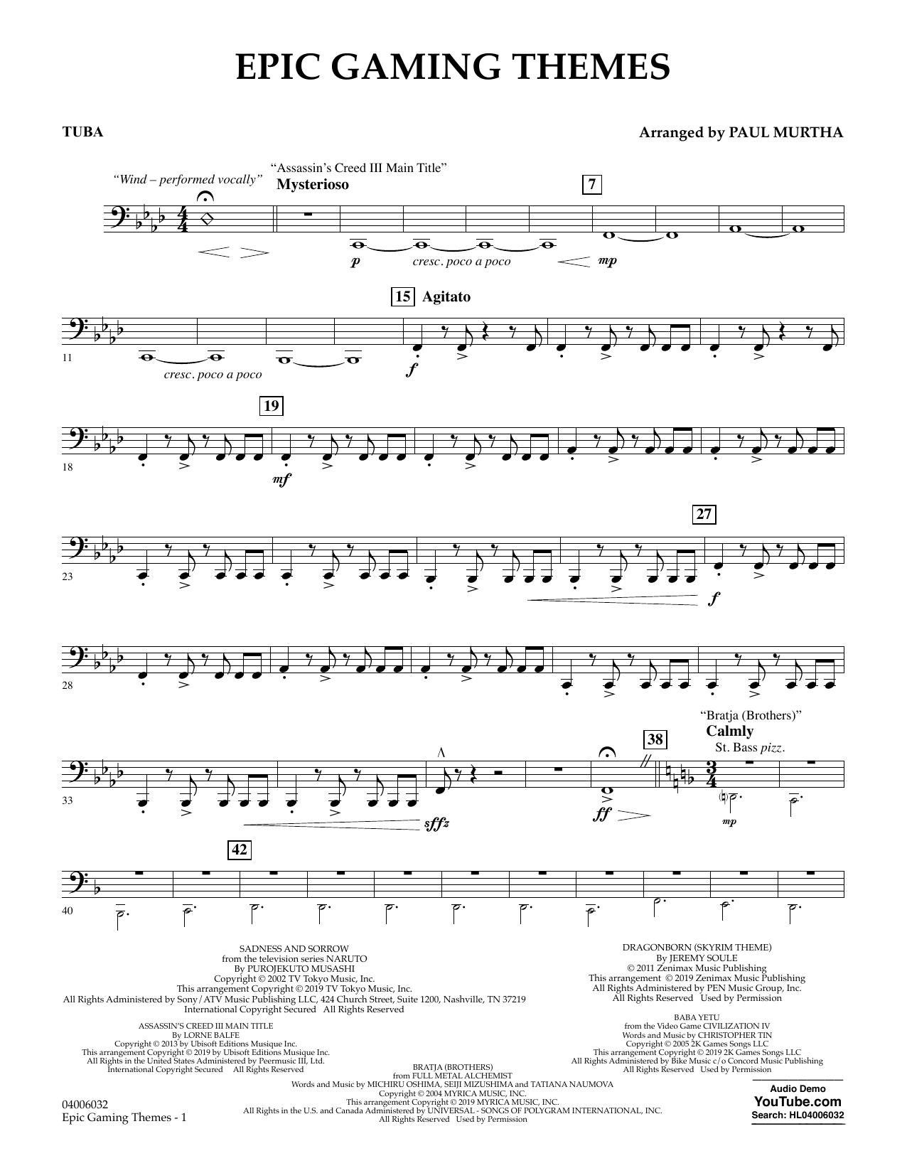 Epic Gaming Themes - Tuba (Concert Band)