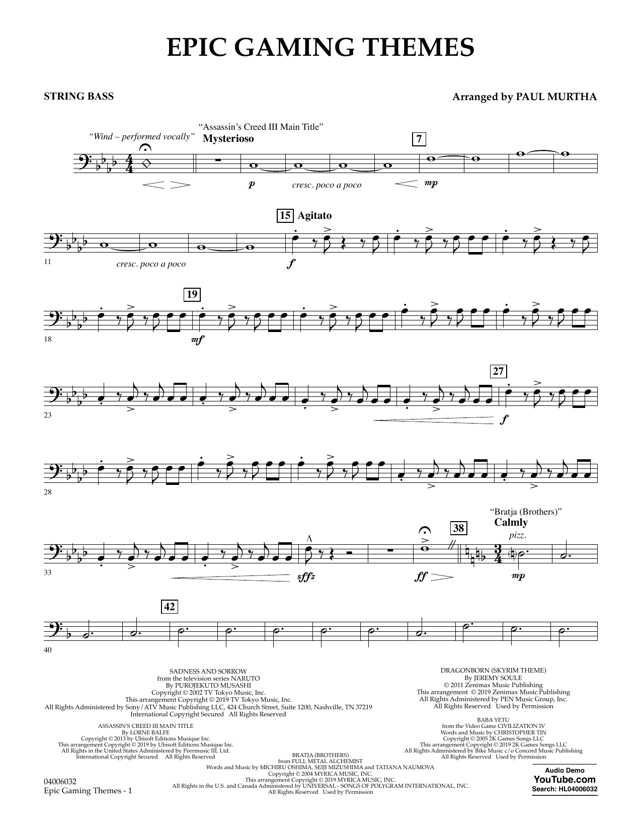 Epic Gaming Themes - String Bass (Concert Band)