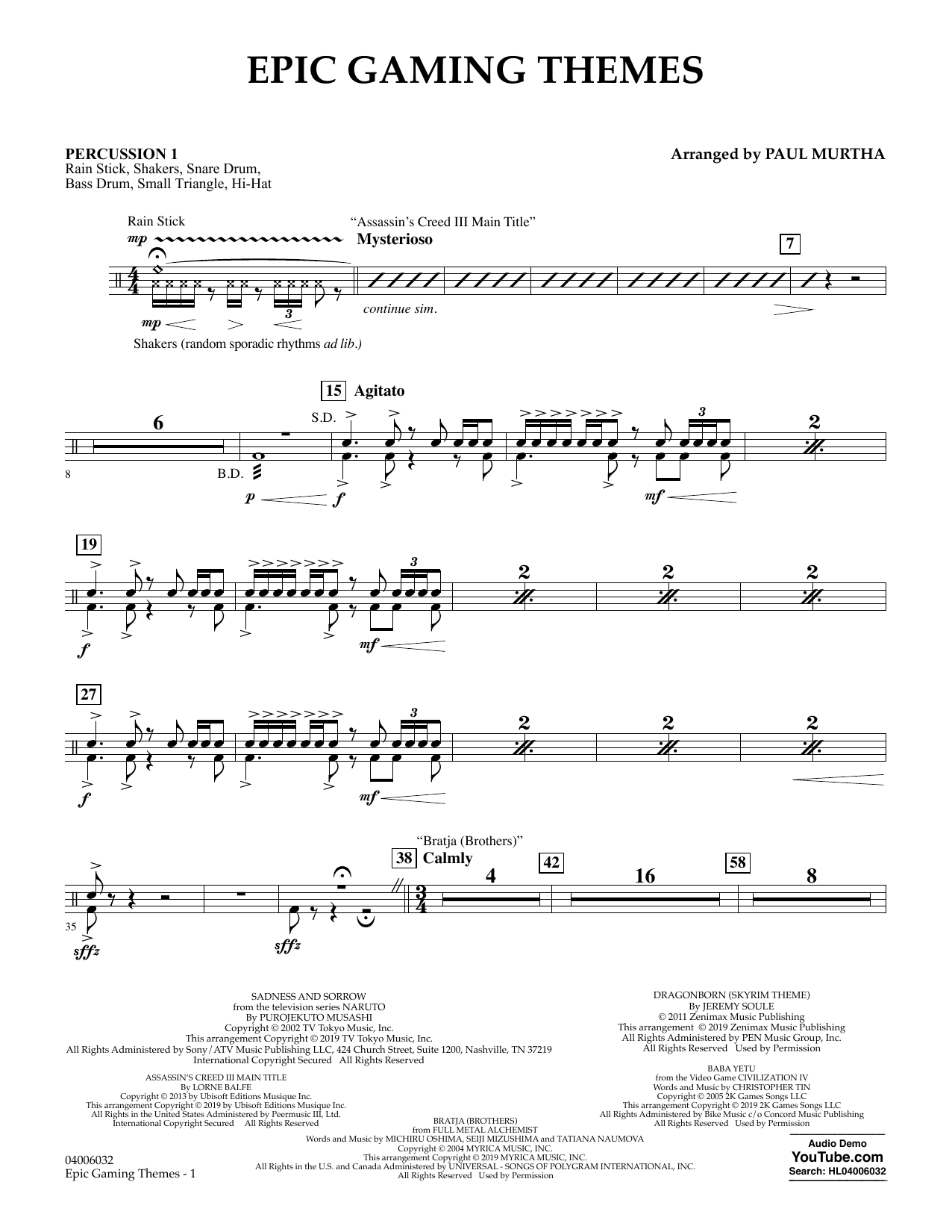 Epic Gaming Themes - Percussion 1 (Concert Band)