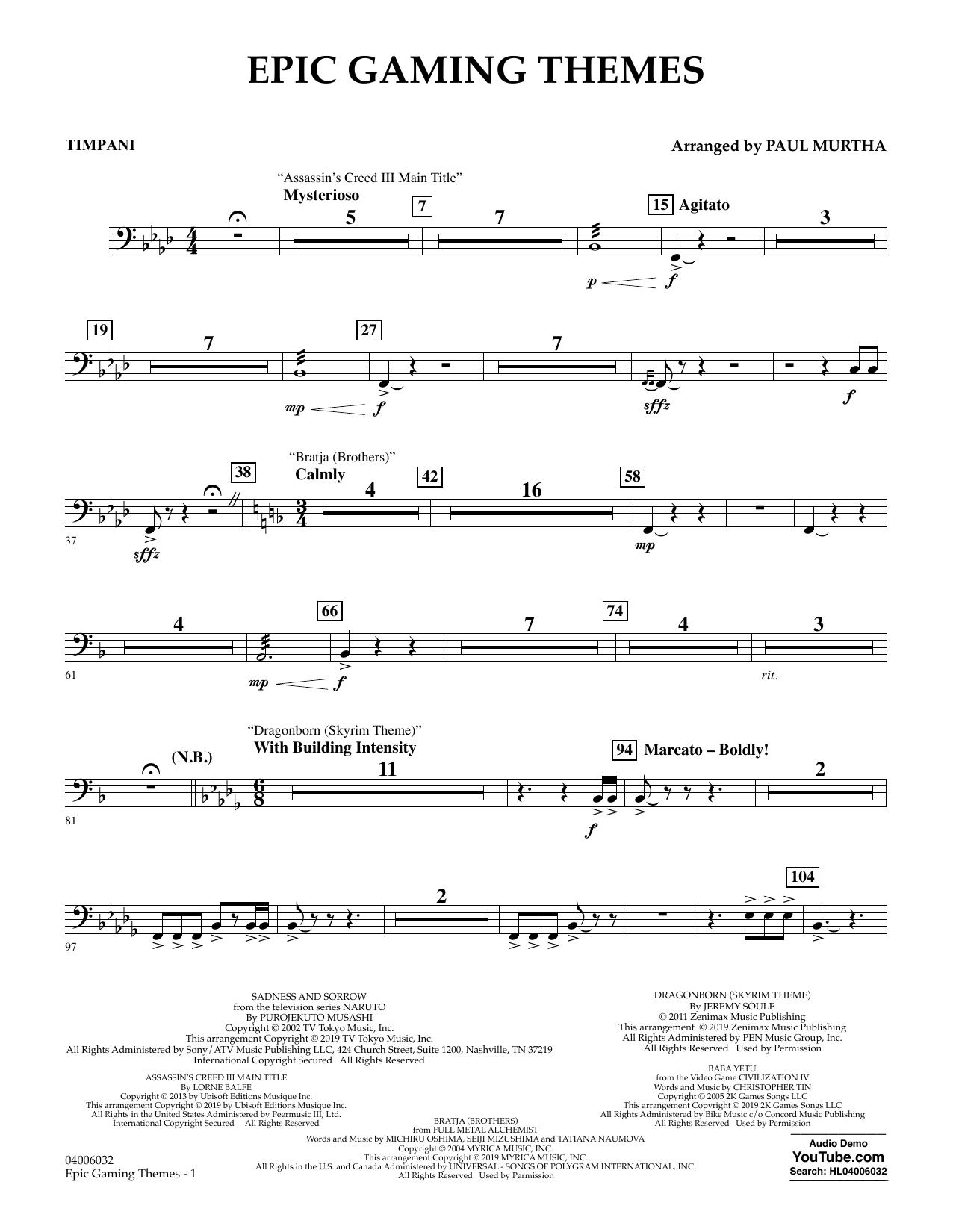 Epic Gaming Themes - Timpani (Concert Band)