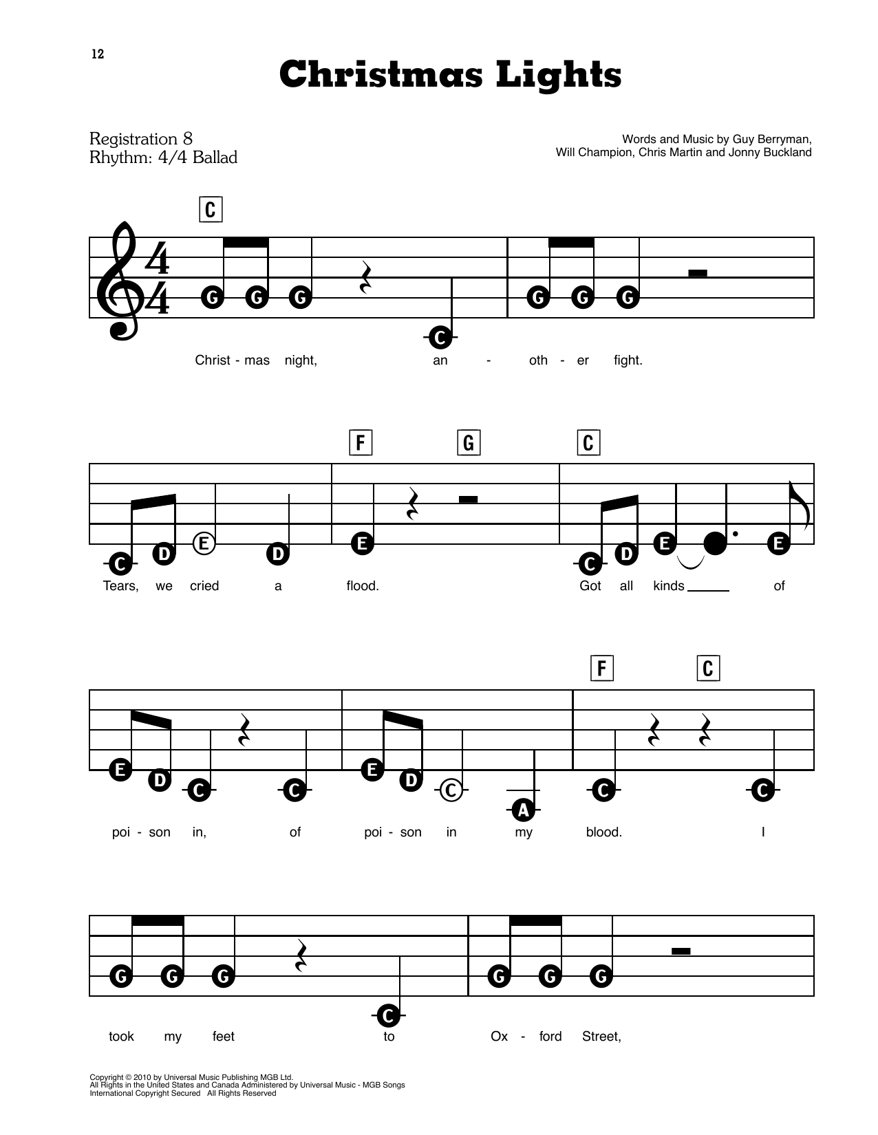 Christmas Lights Sheet Music Coldplay E Z Play Today