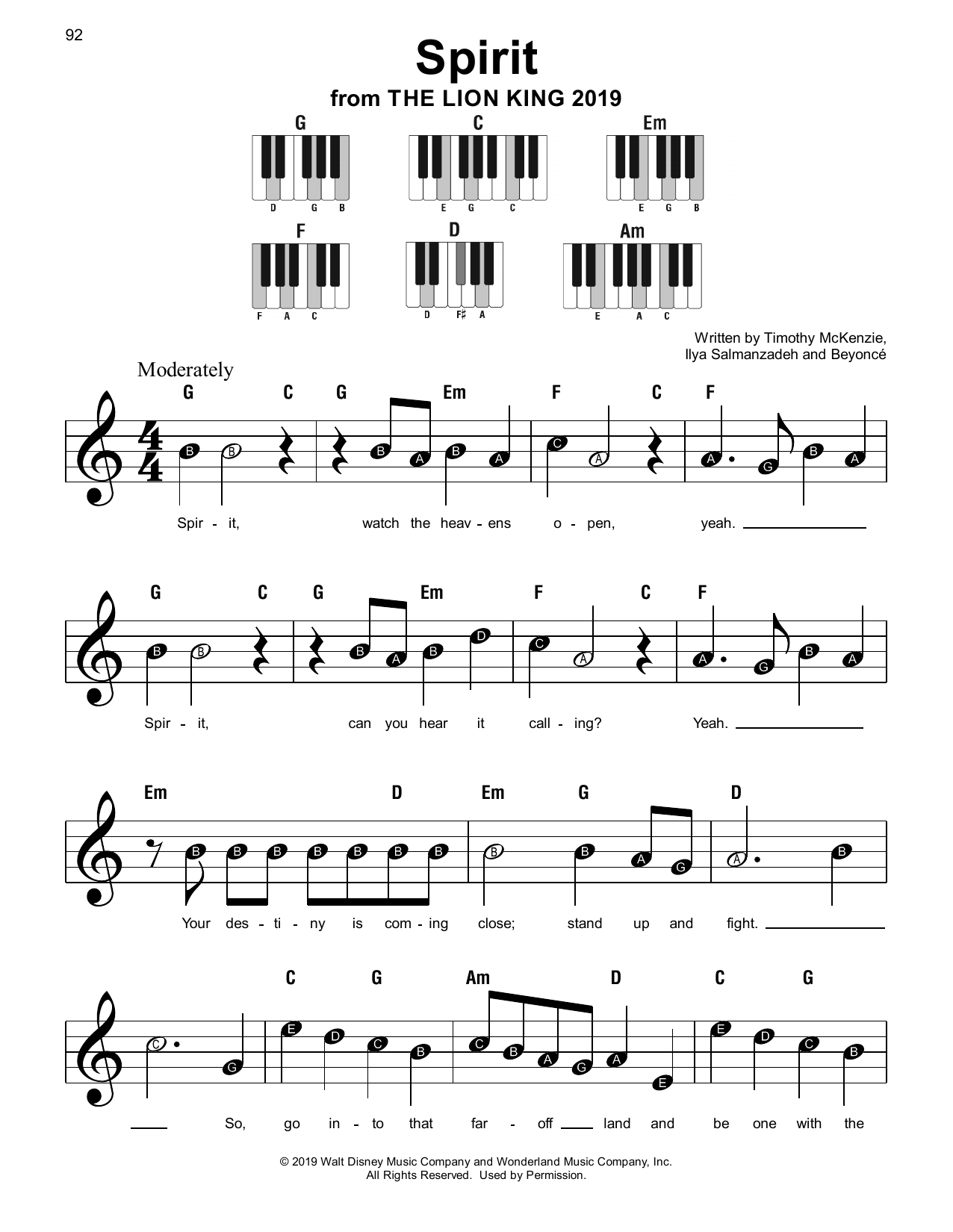 Spirit (from The Lion King 2019) by Beyonce Piano, Vocal & Guitar  (Right-Hand Melody) Digital Sheet Music