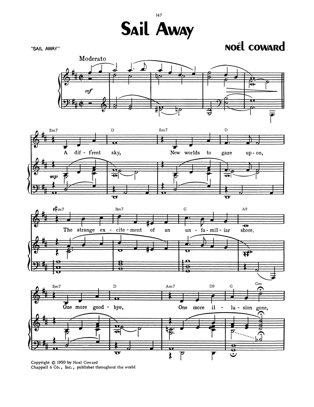 Sail Away (Piano, Vocal & Guitar (Right-Hand Melody))