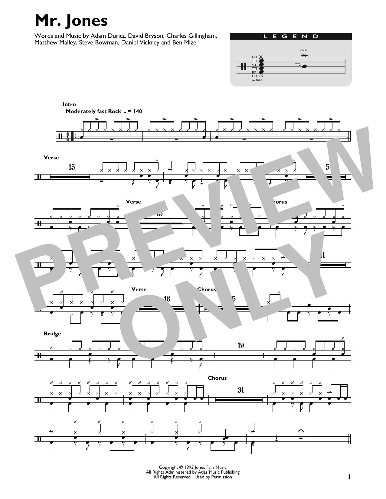 Mr. Jones (Drum Chart)