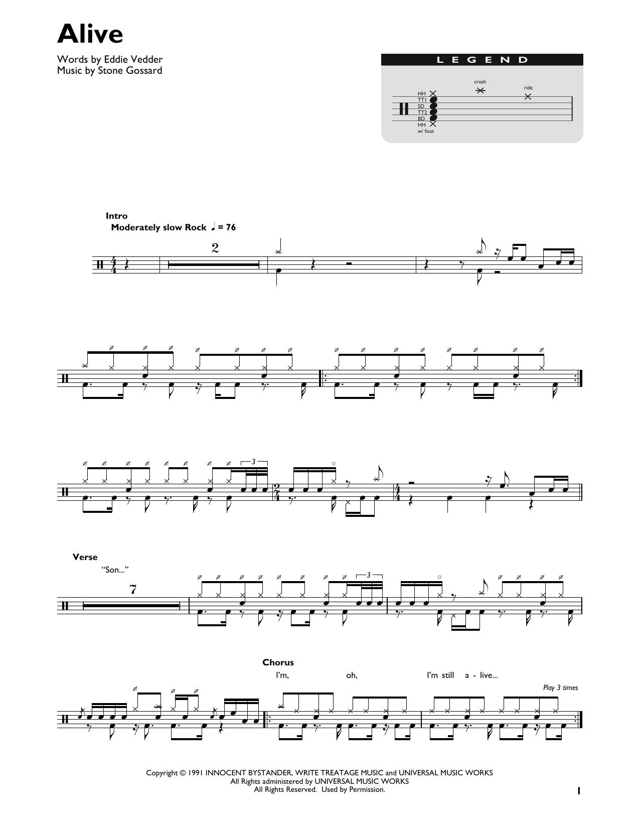 Alive (Drum Chart)