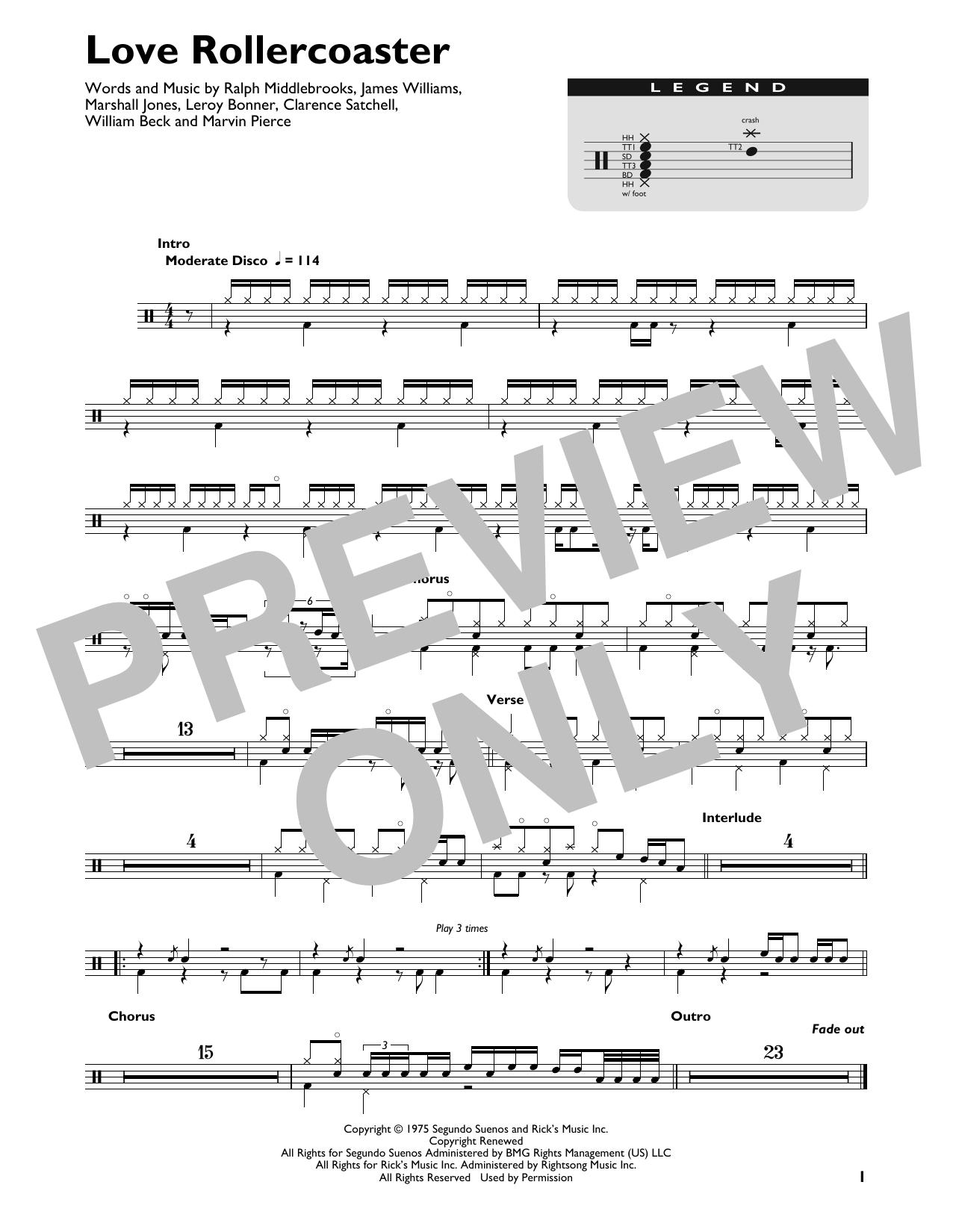 Love Rollercoaster (Drum Chart)