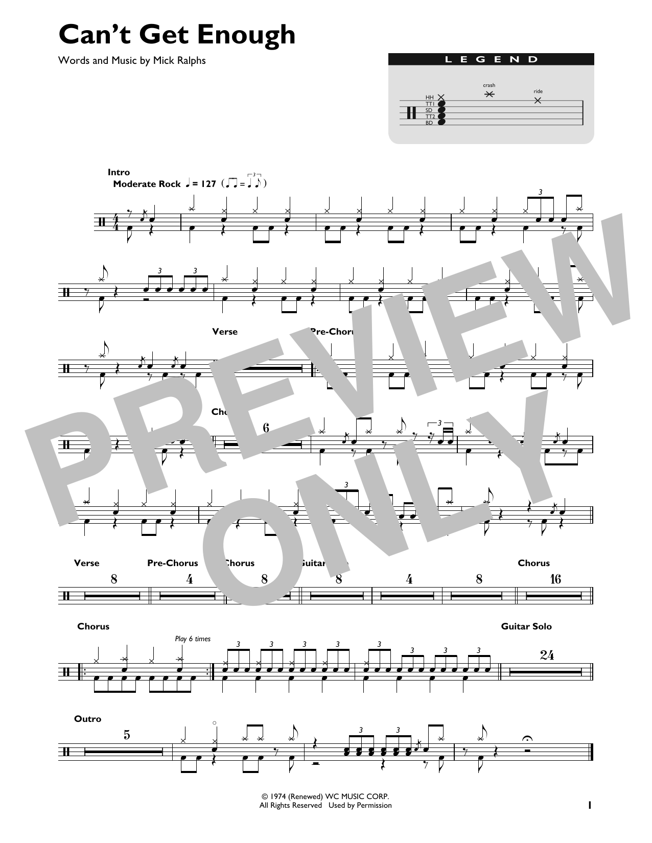 Can't Get Enough (Drum Chart)