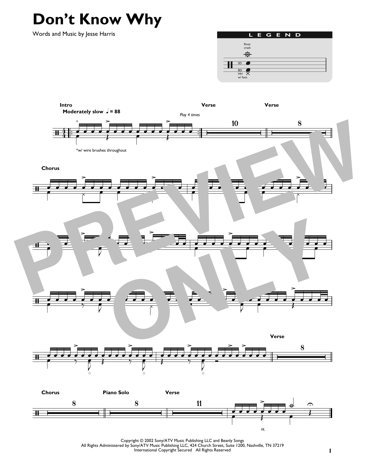 Don't Know Why (Drum Chart)