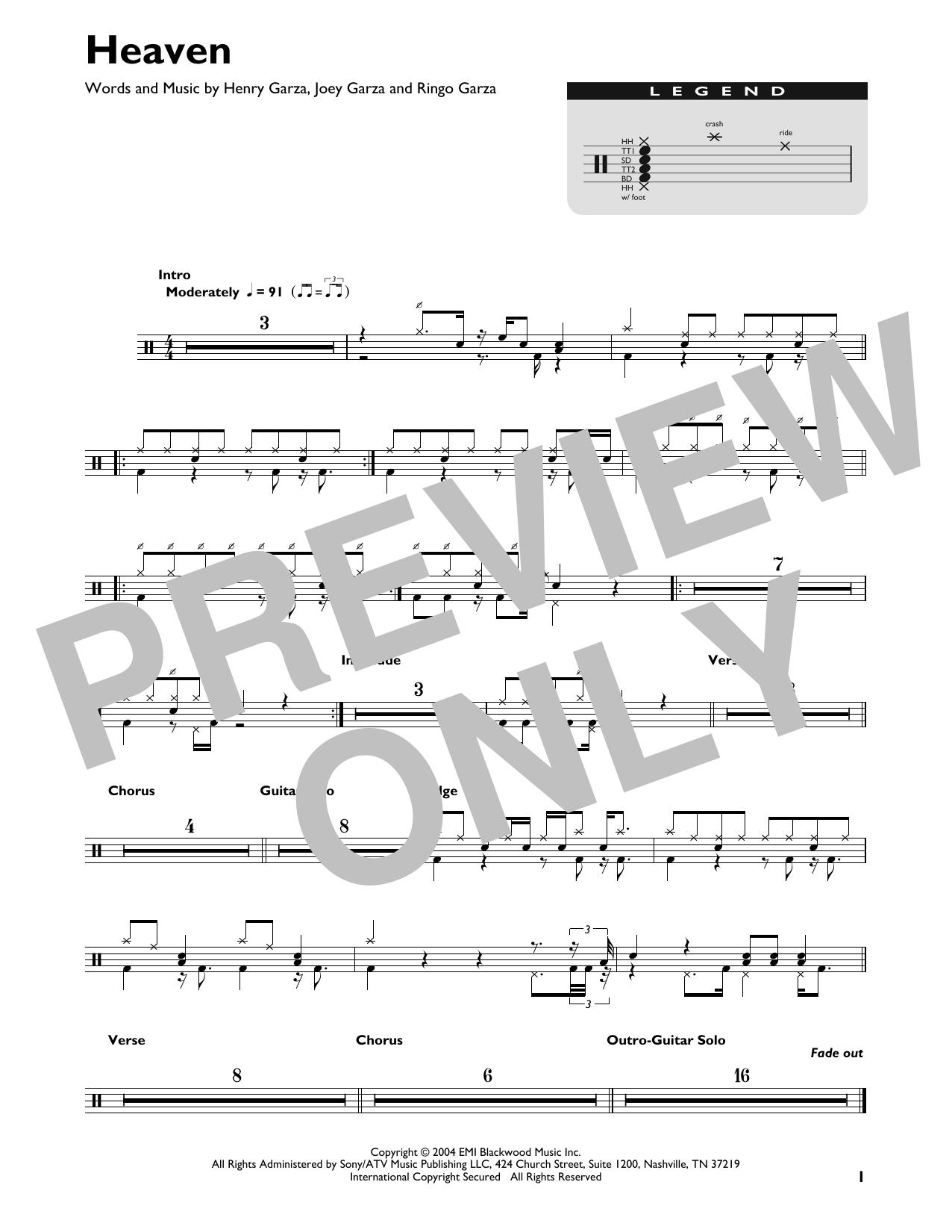 Heaven (Drum Chart)