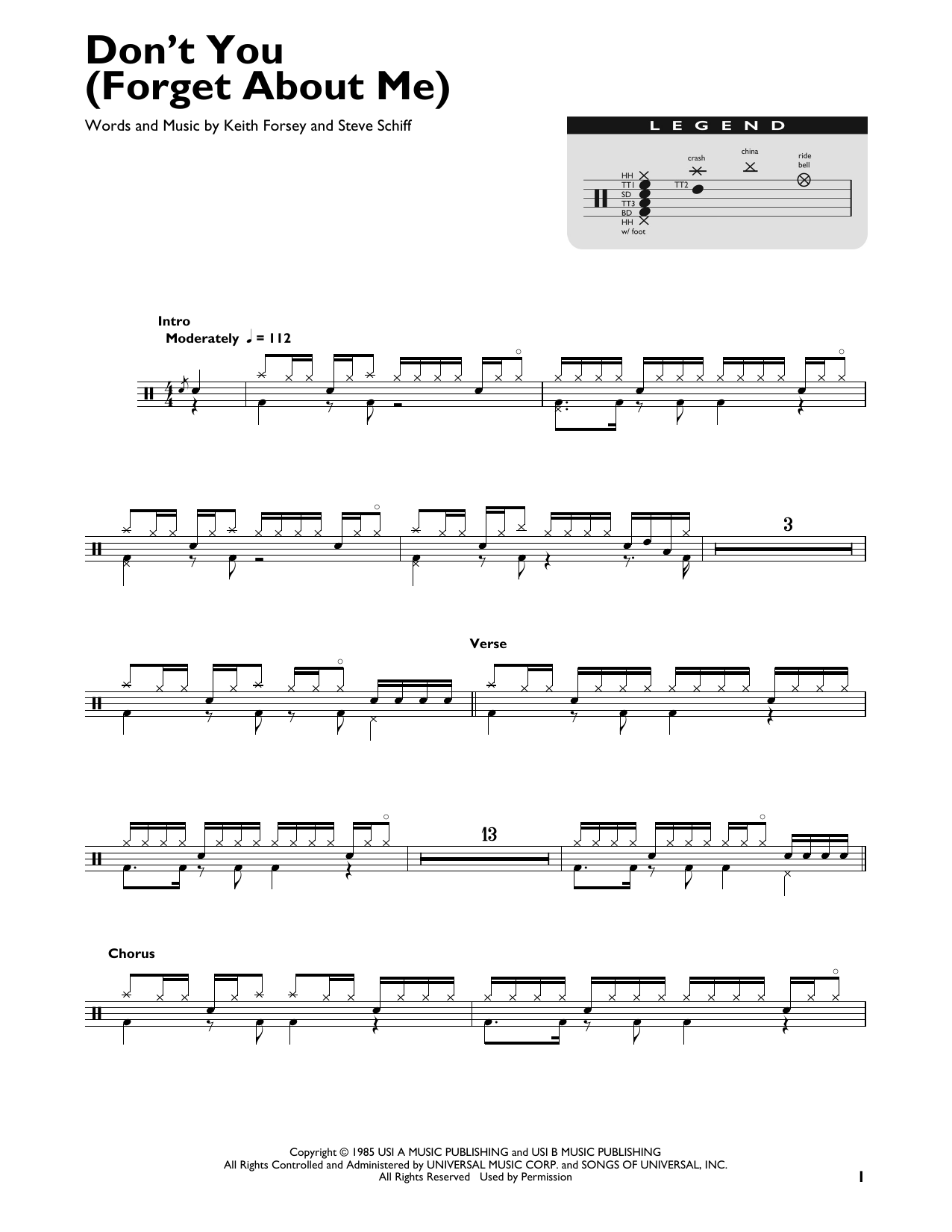 Don't You (Forget About Me) (Drum Chart)