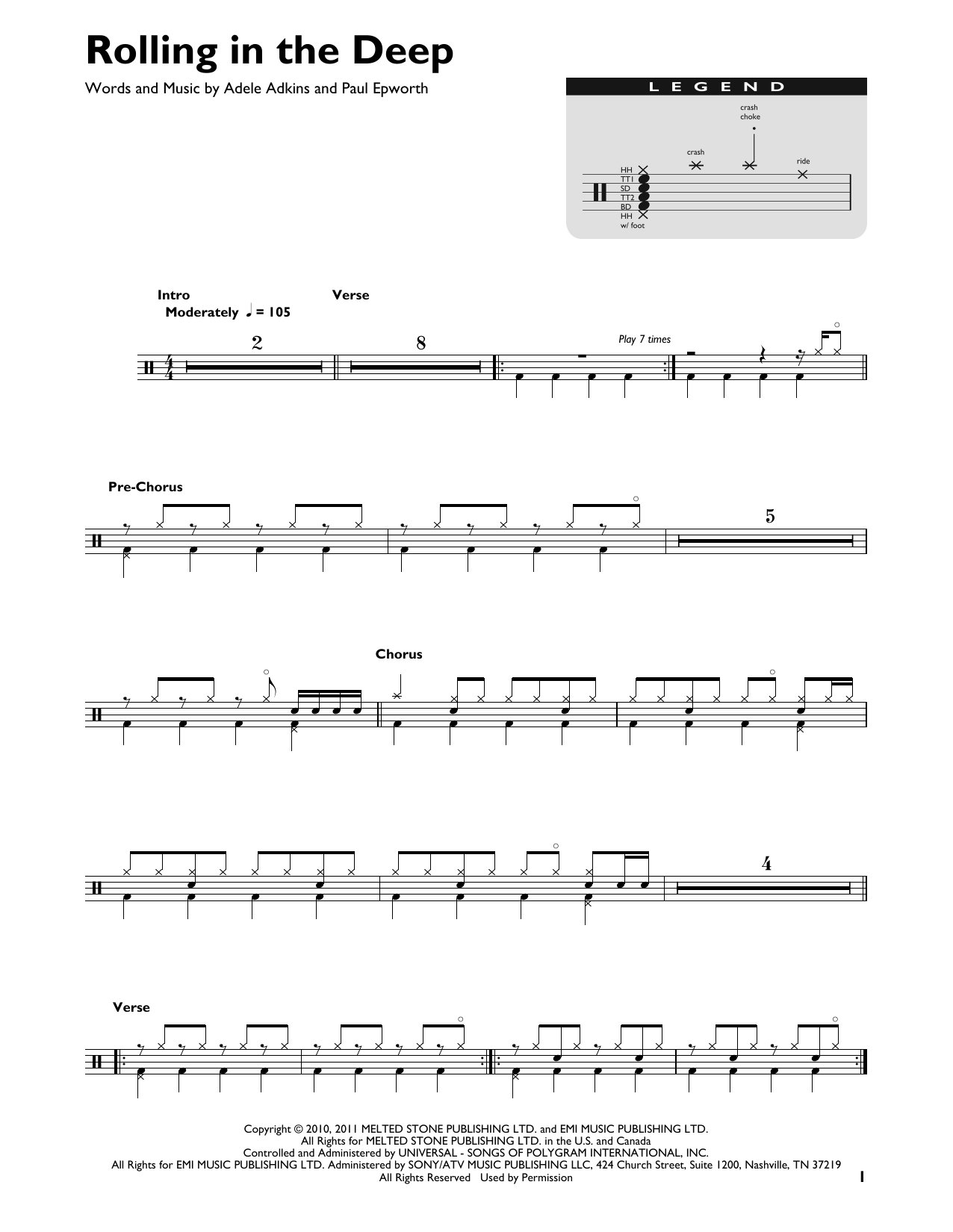 Rolling In The Deep (Drum Chart)
