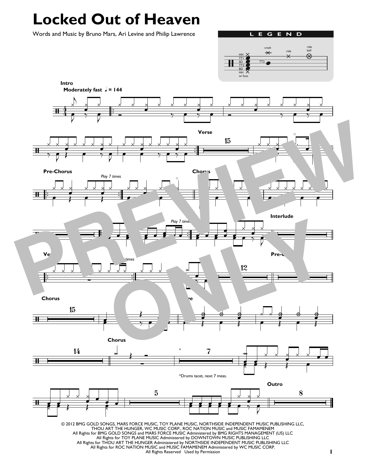 Locked Out Of Heaven (Drum Chart)