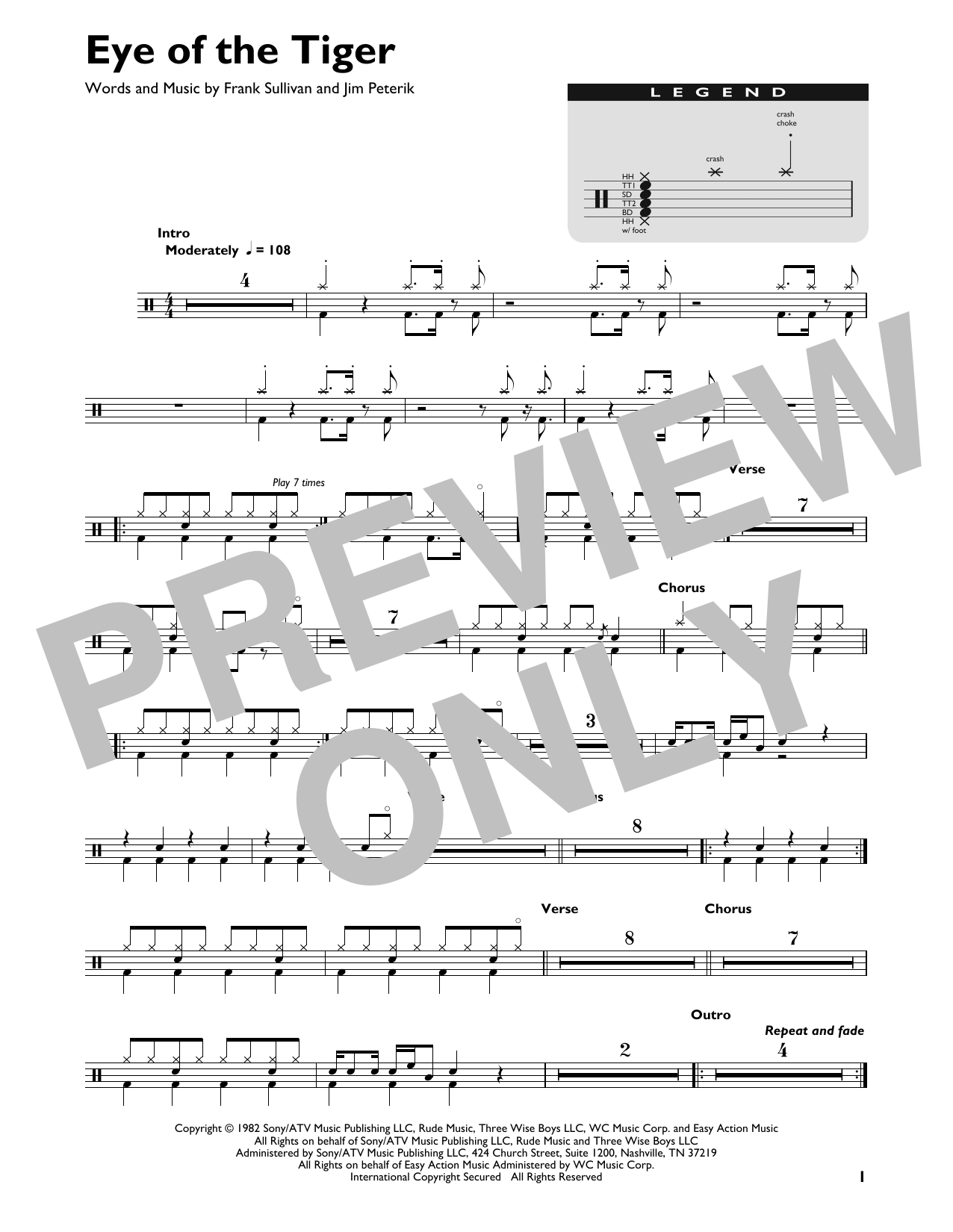 Eye Of The Tiger (Drum Chart)