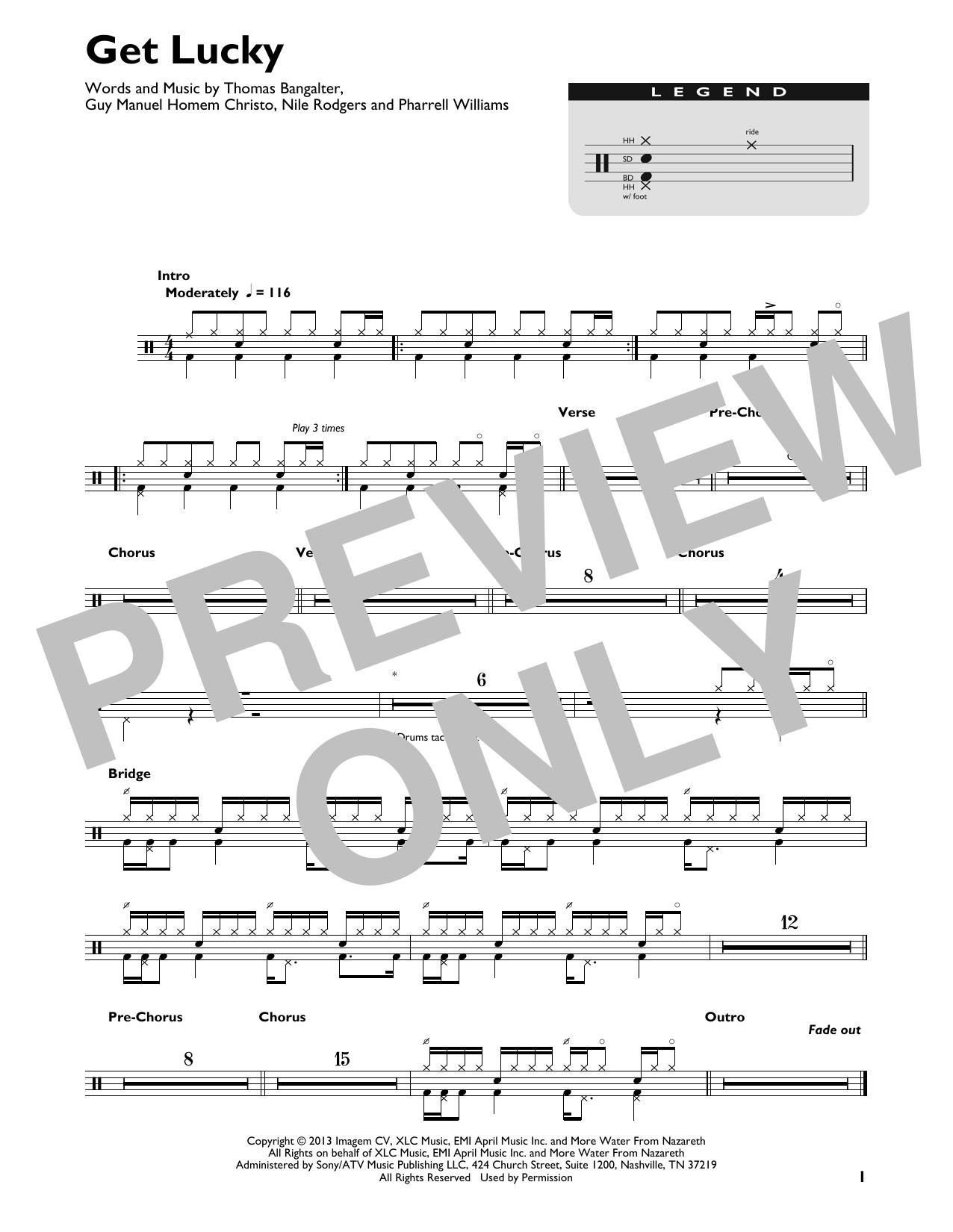 Get Lucky (feat. Pharrell Williams) (Drum Chart)